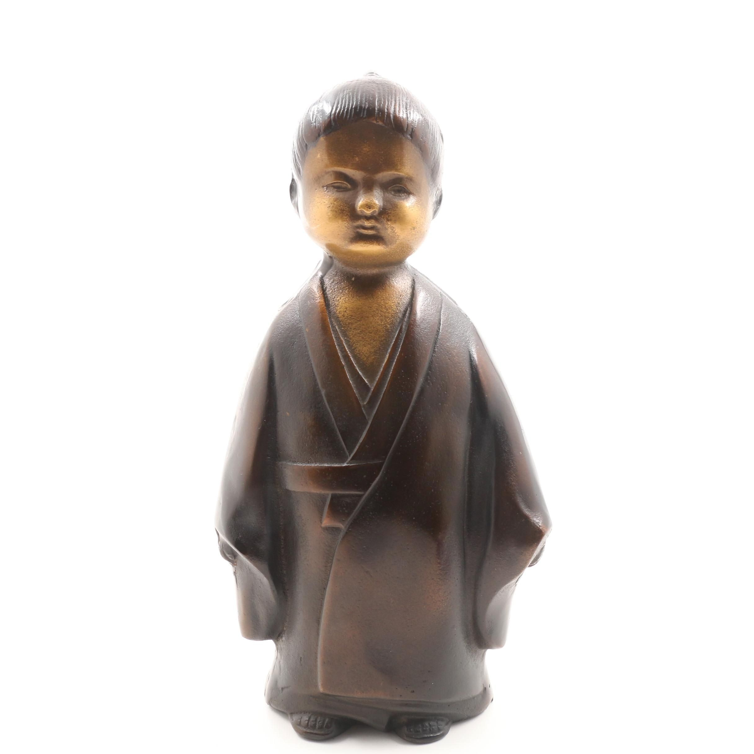 Japanese Copper and Iron Sculpted Figure