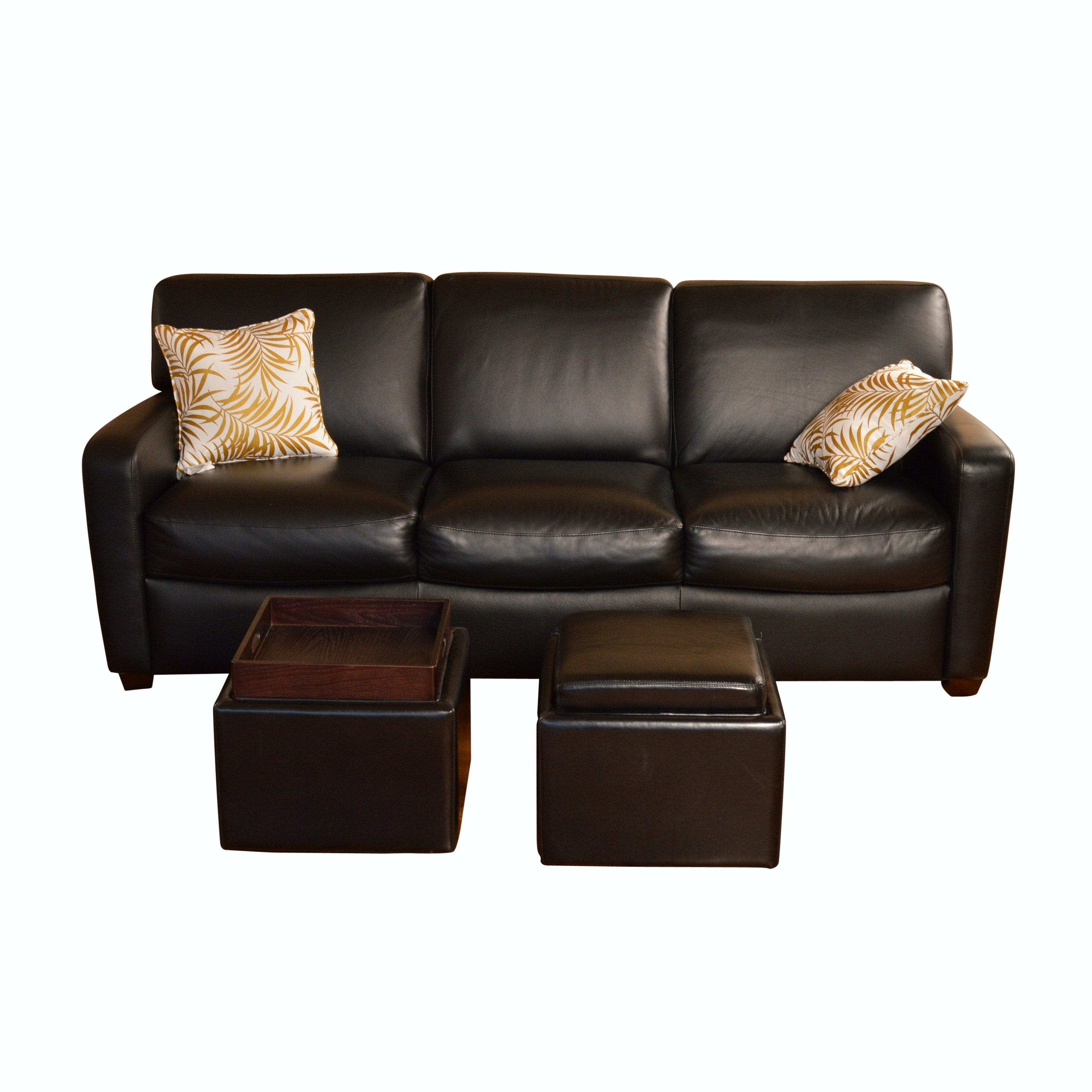 Black Leather Sofa and Ottomans