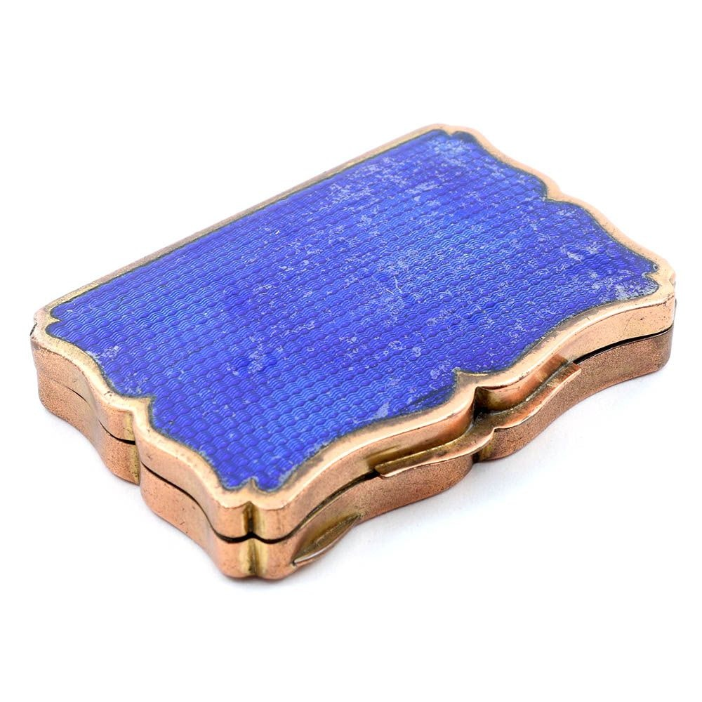 Circa 1920's Blue Enamel on Guilloche on Copper Compact