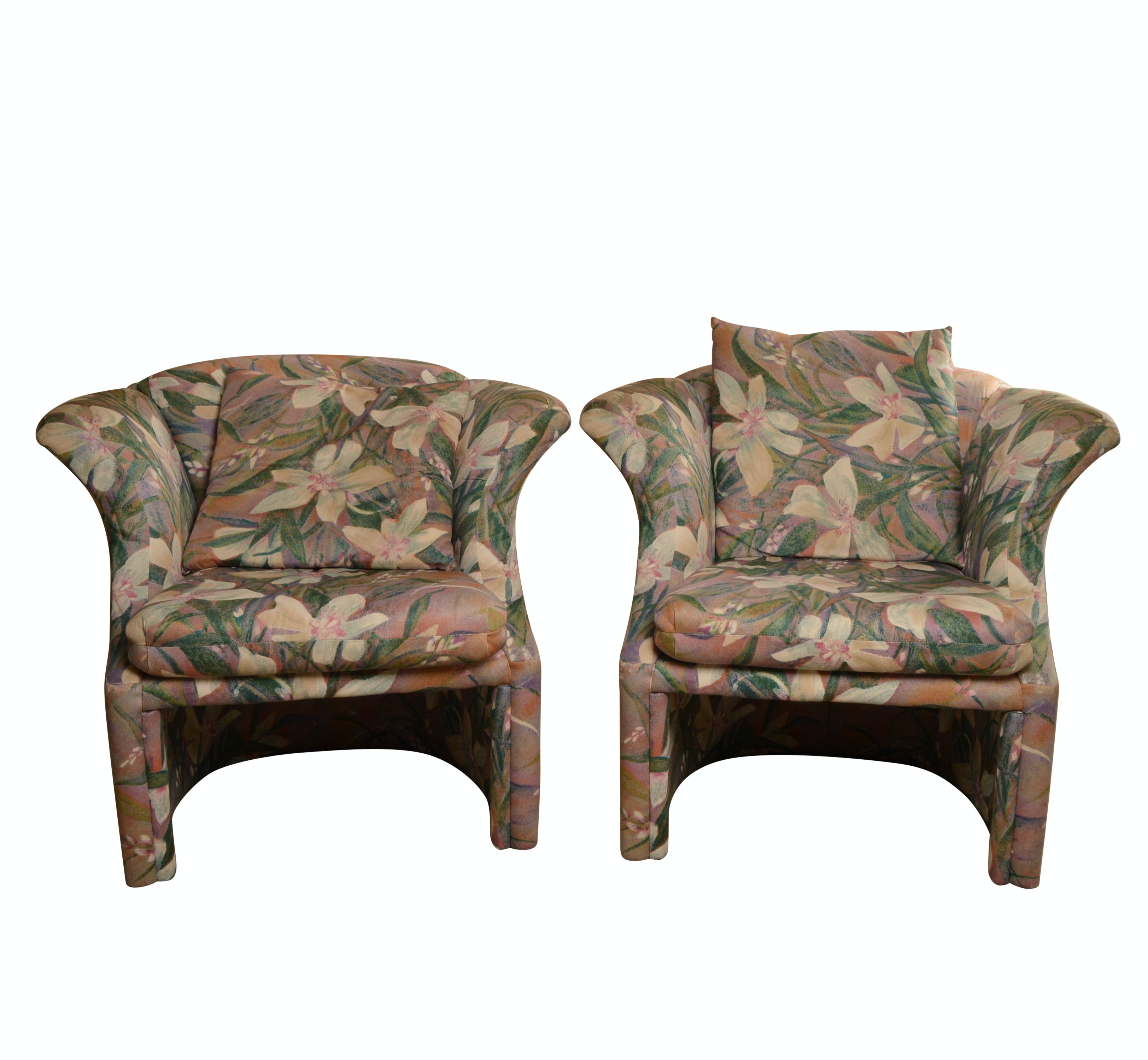 Contemporary Style Floral Club Chairs