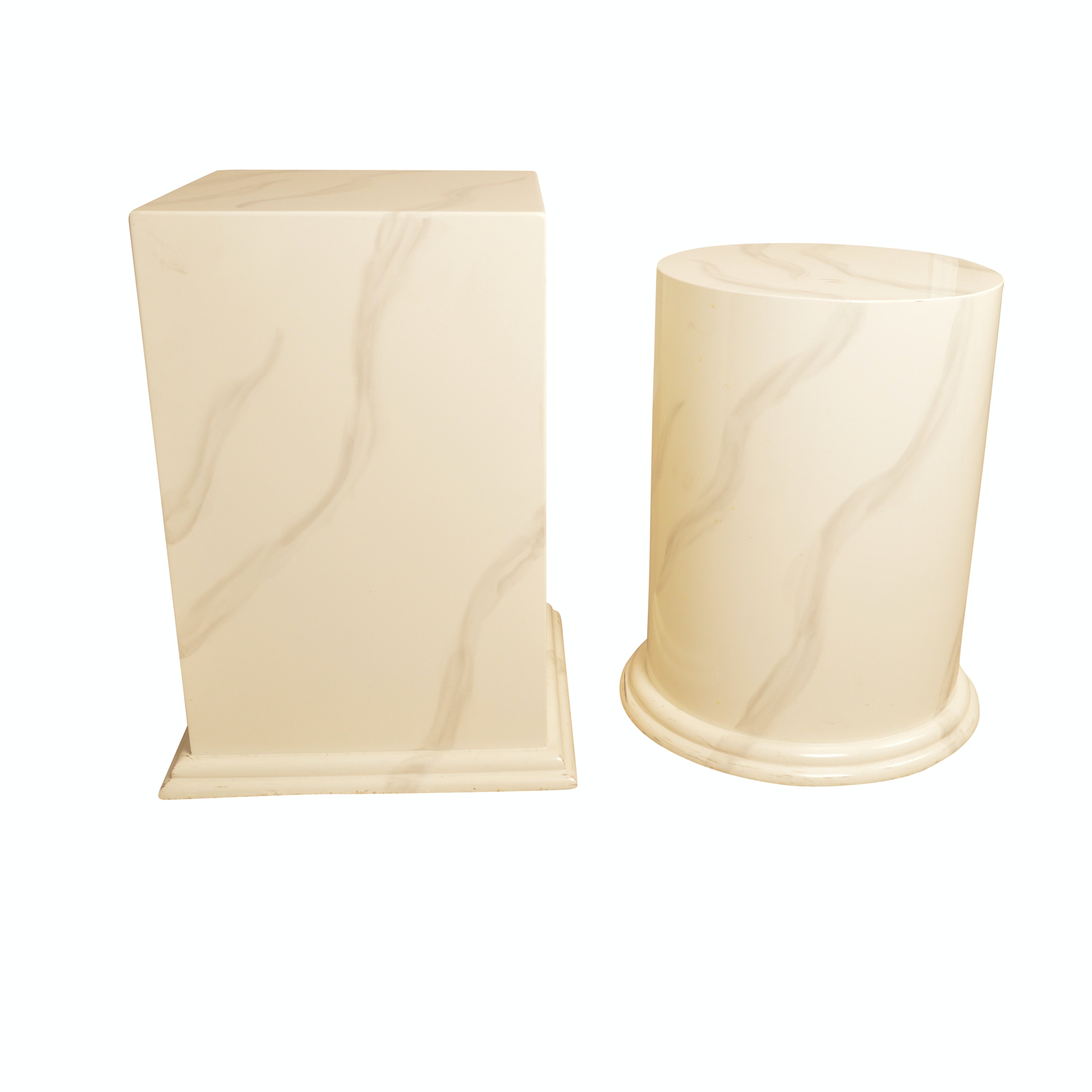 Pair of Faux Marble Pedestal Stands