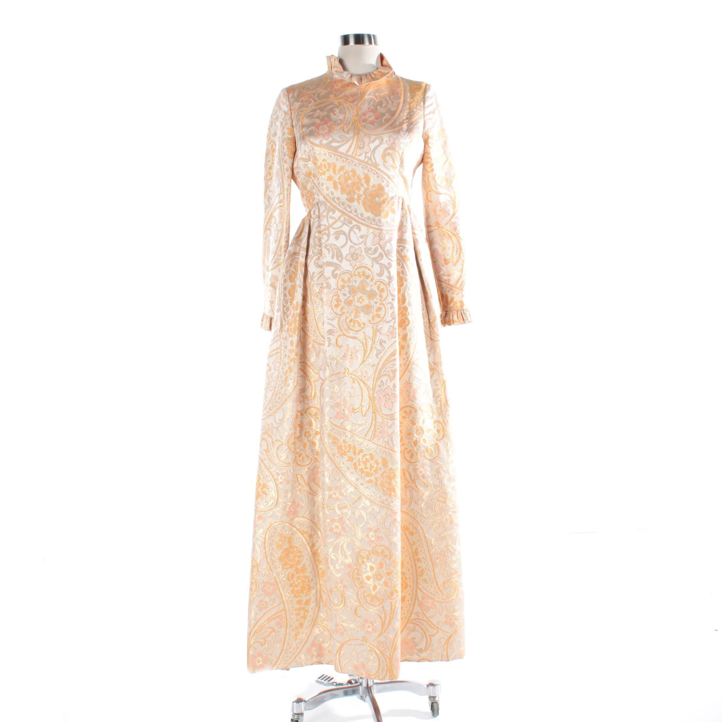 Women's Vintage Yellow Brocade Long Sleeve Maxi Dress