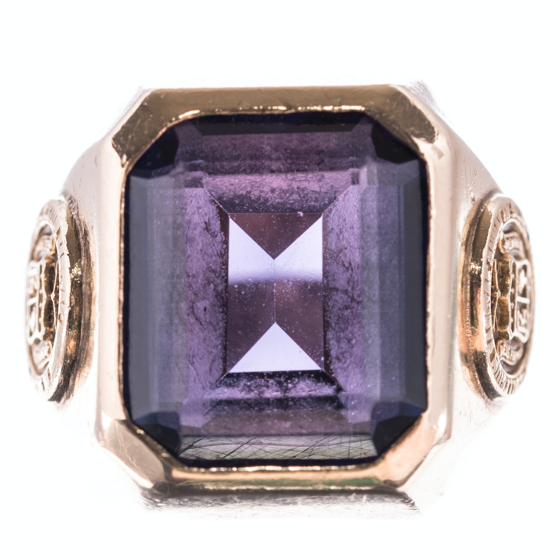 10K Yellow Gold 8.50 CT Synthetic Sapphire Class Ring