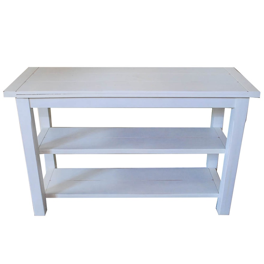 Distressed Off White Console Table With Shelves