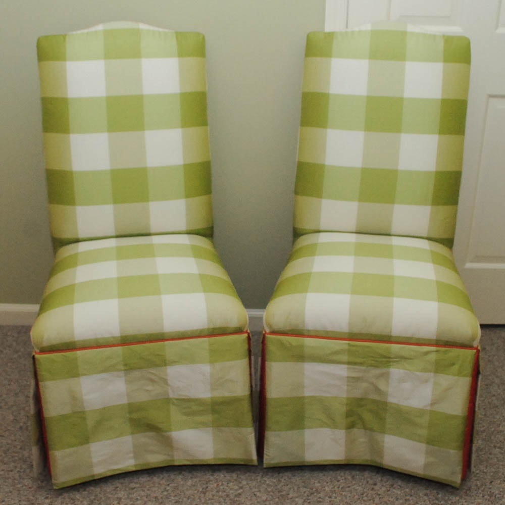 Green Gingham Parsons Chairs by Century