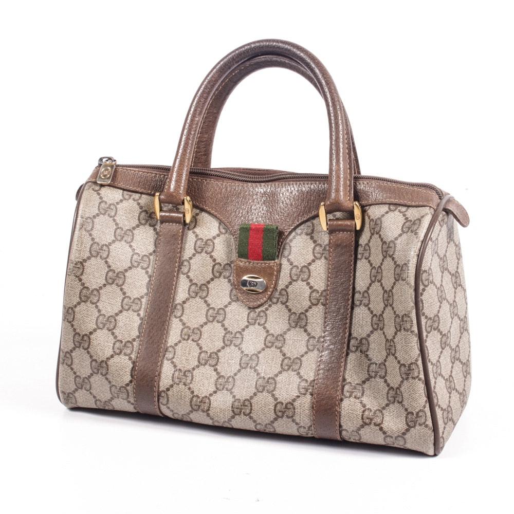 Vintage Gucci Accessory Collection Monogram Canvas Duffel Handbag