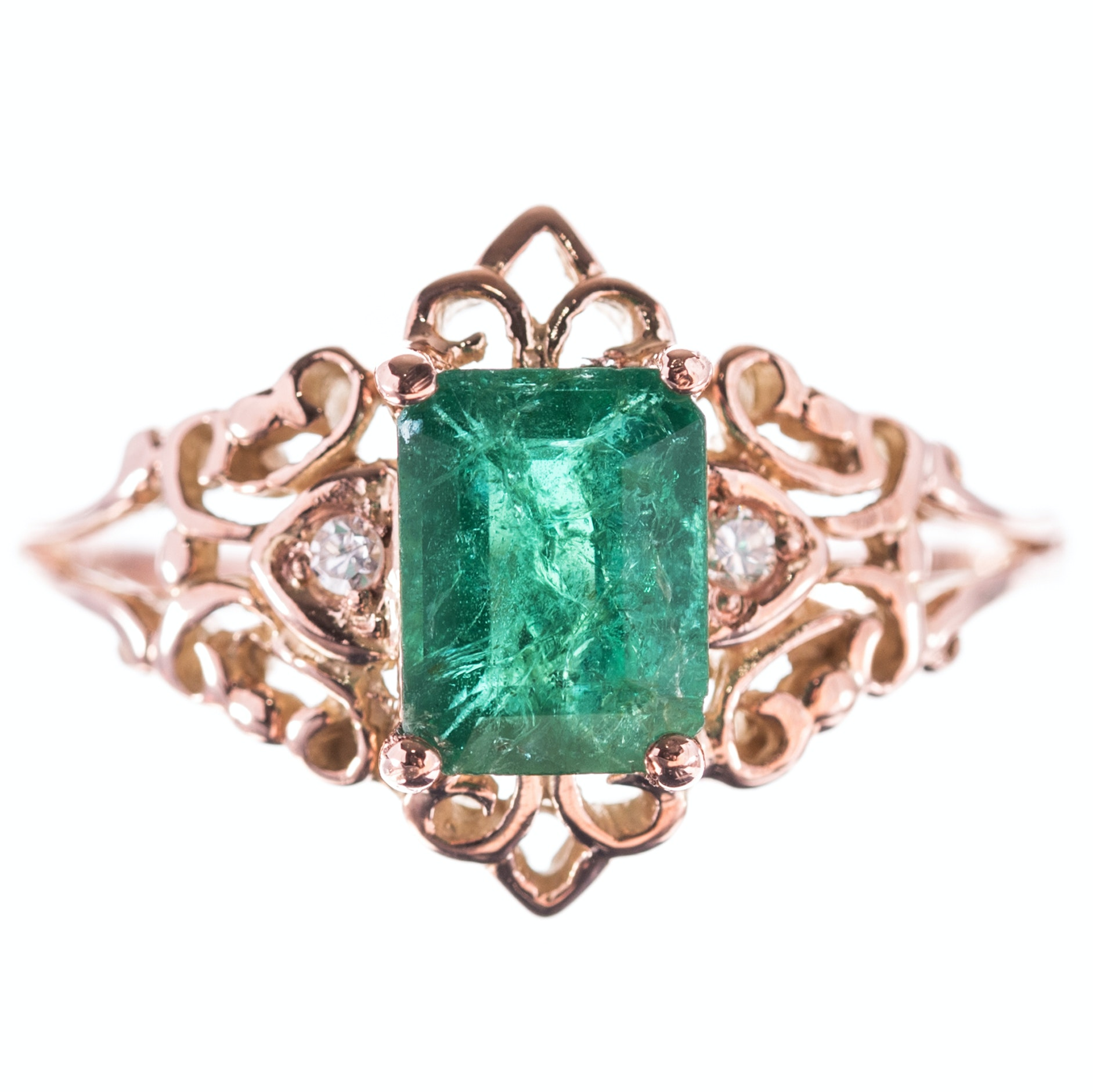 10K Yellow Gold 1.10 CT Emerald and Diamond Ring