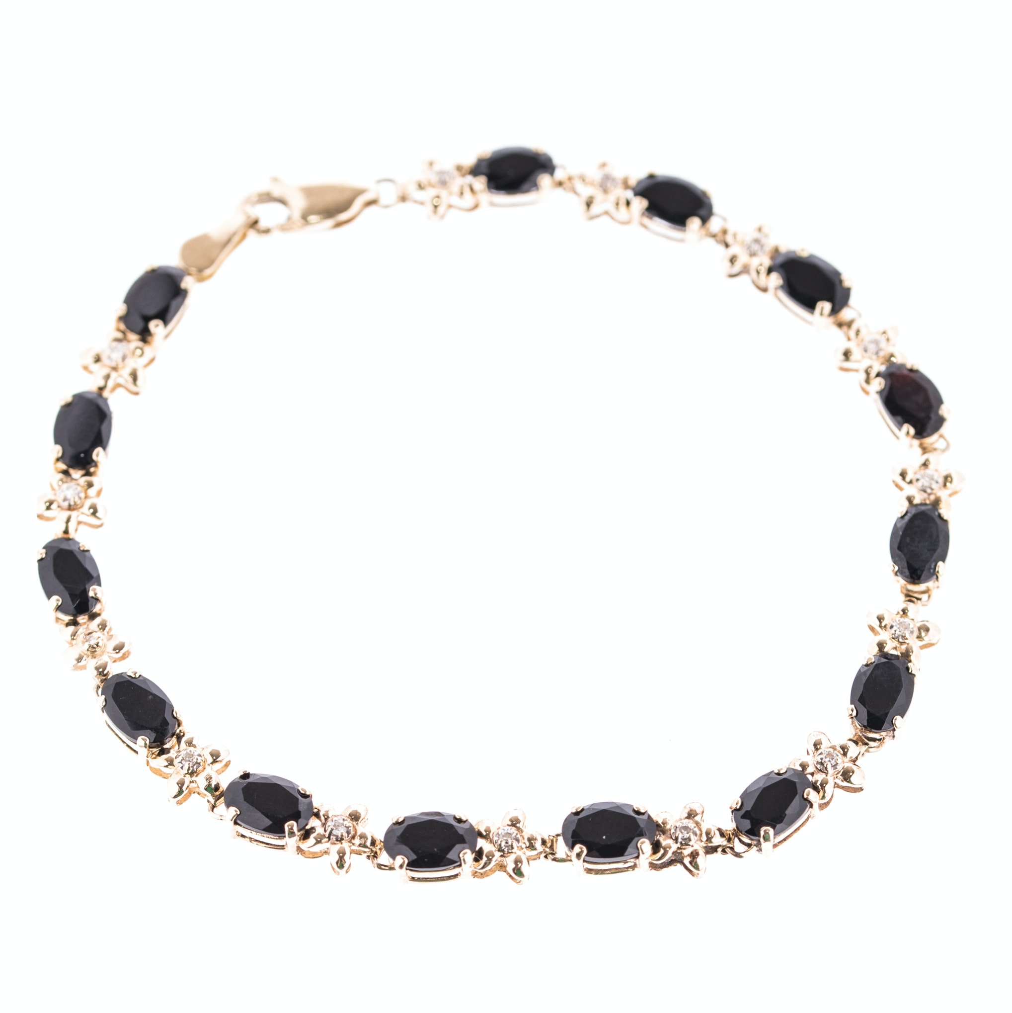 14K Yellow Gold Black Onyx and Diamond Bracelet