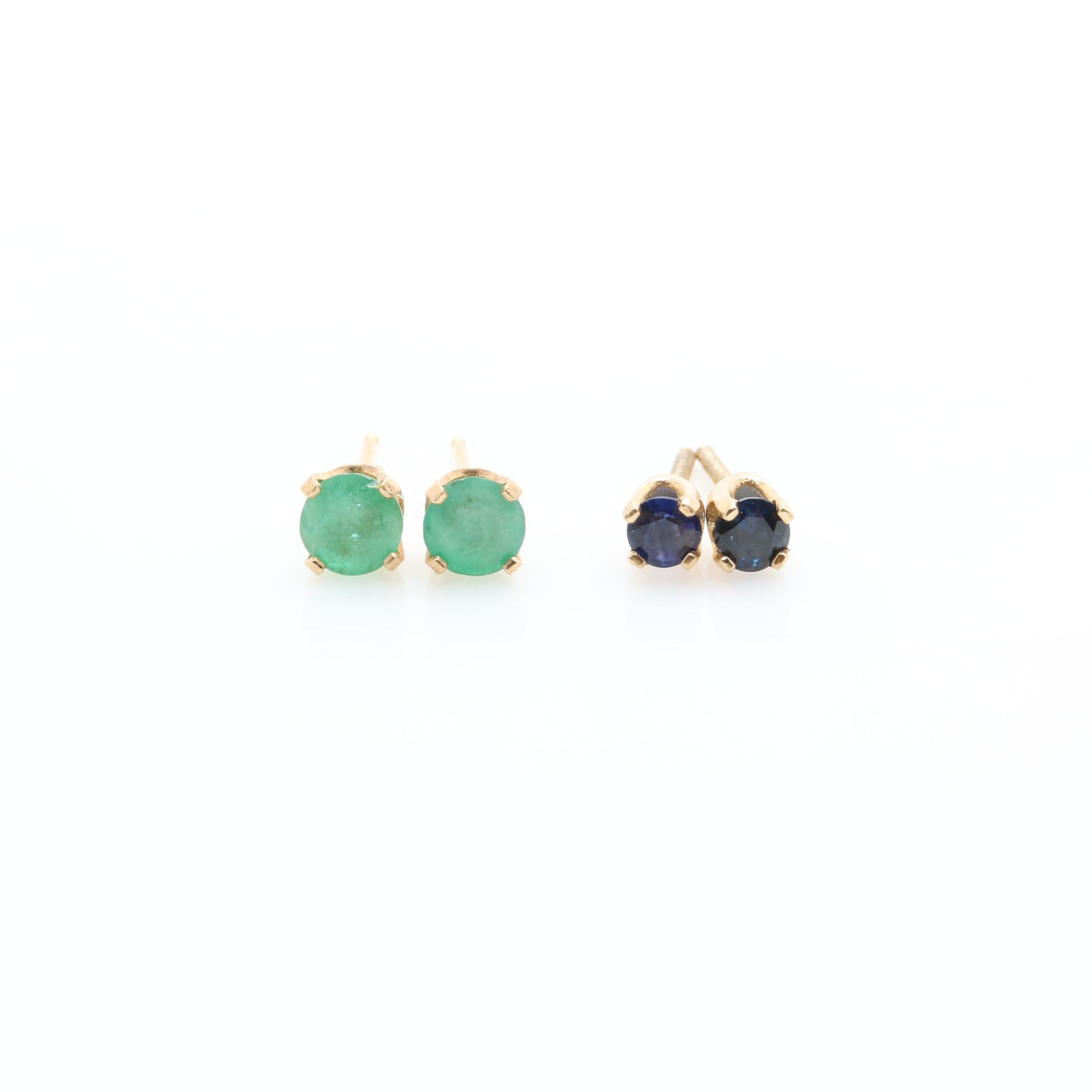 Selection of 14K Yellow Gold Blue Sapphire and Emerald Stud Earrings