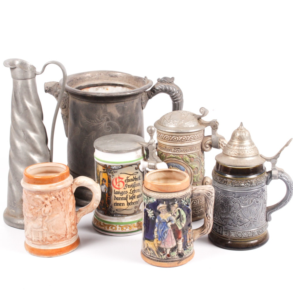 Assorted Metal Canisters and Steins