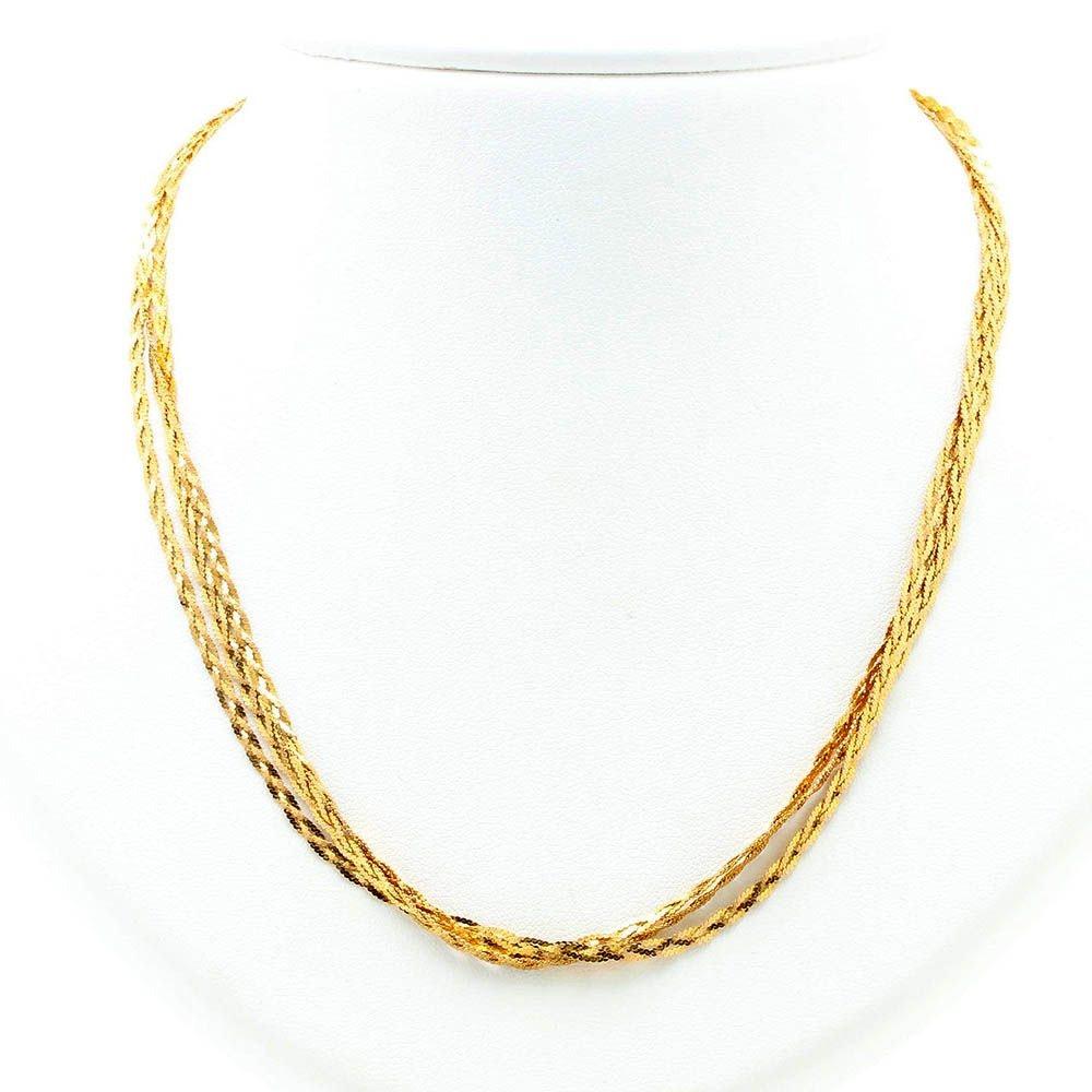 14K Yellow Gold Three Strand Braided Serpentine Chain Link Necklace