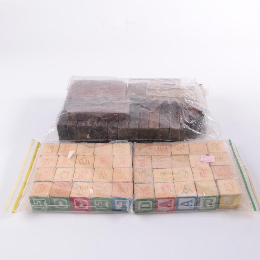 Wooden Alphabet Blocks And Oversize Dominoes