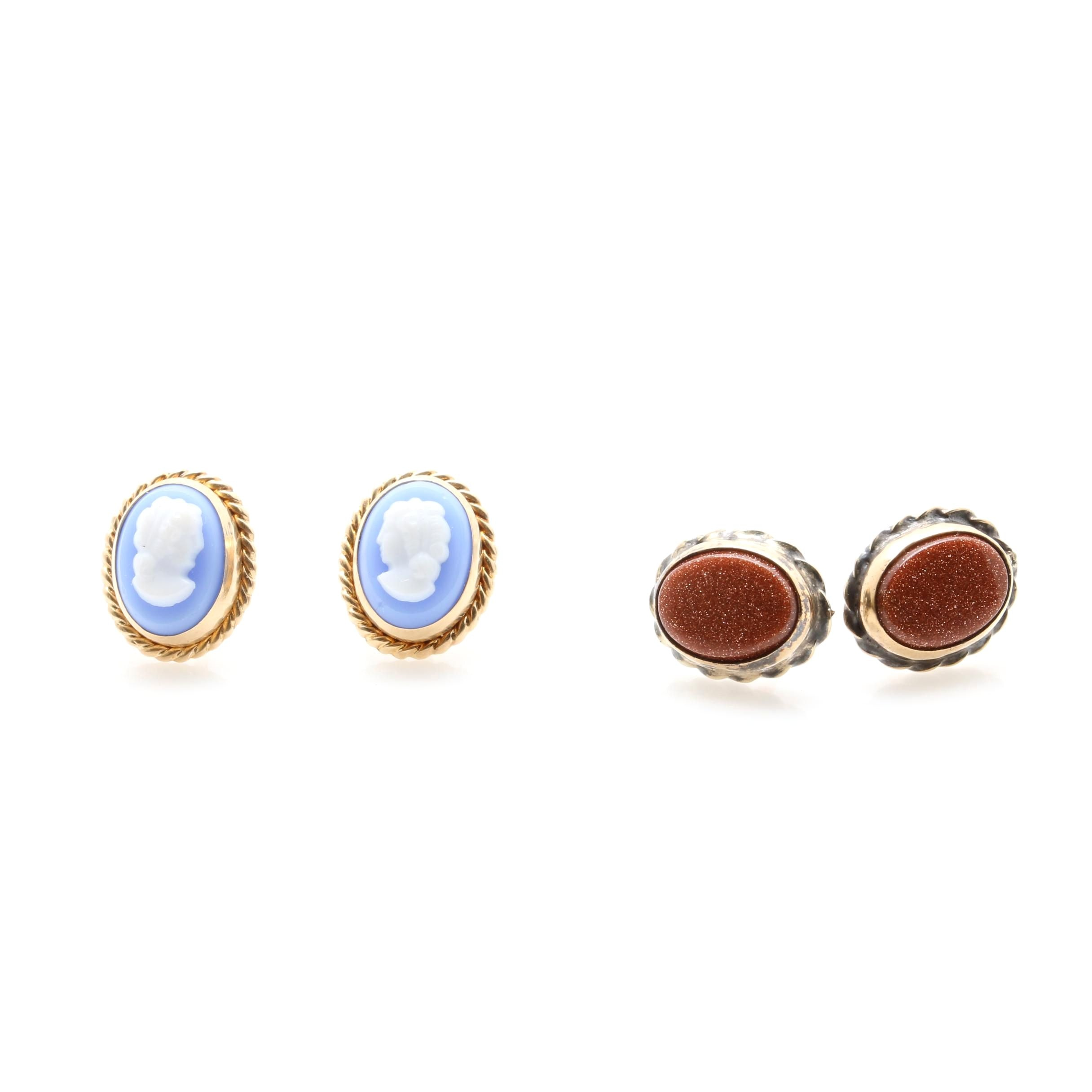 14K Yellow Gold Resin and Goldstone Glass Stud Earrings