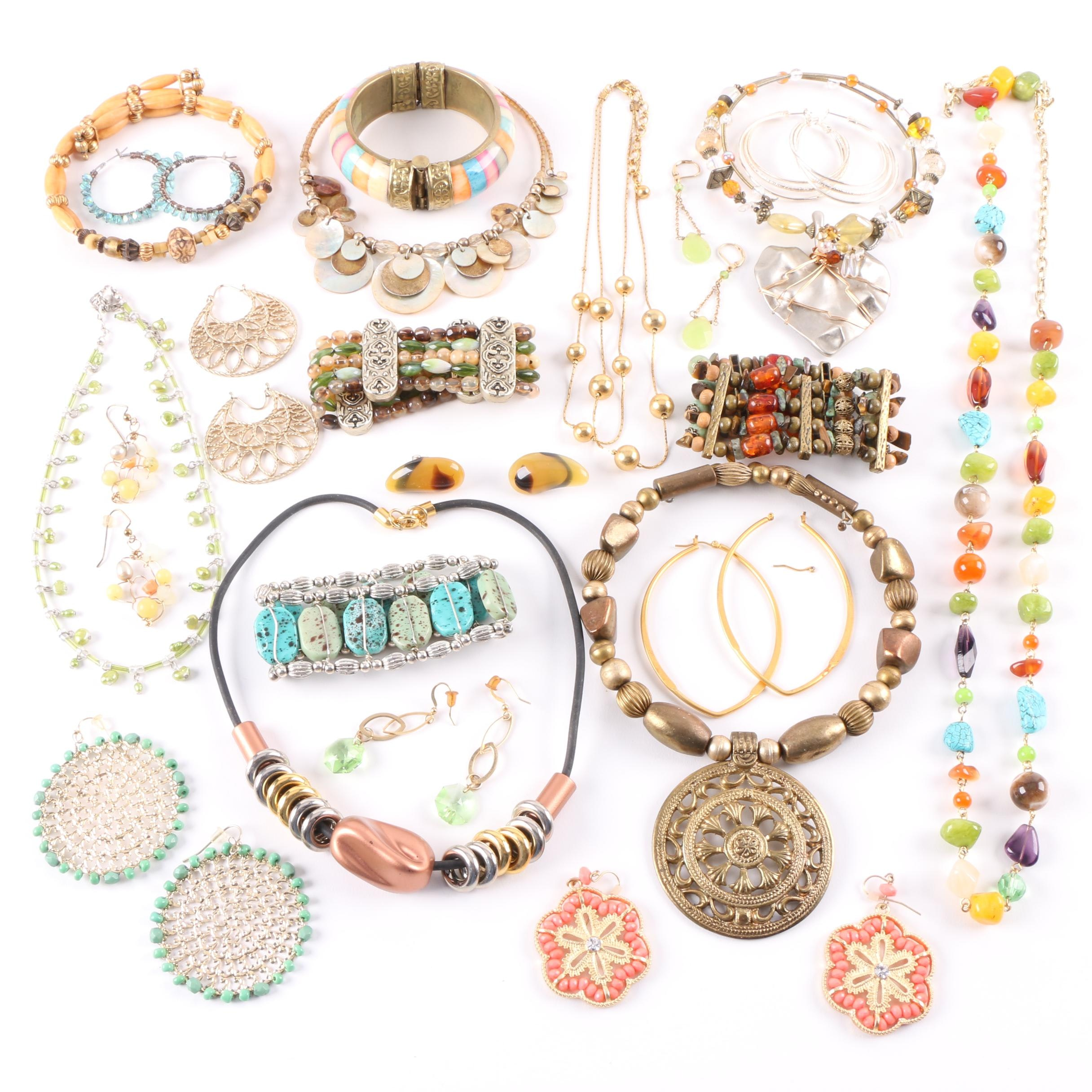 Selection of Jewelry Including Cultured Pearls and Imitation Turquoise