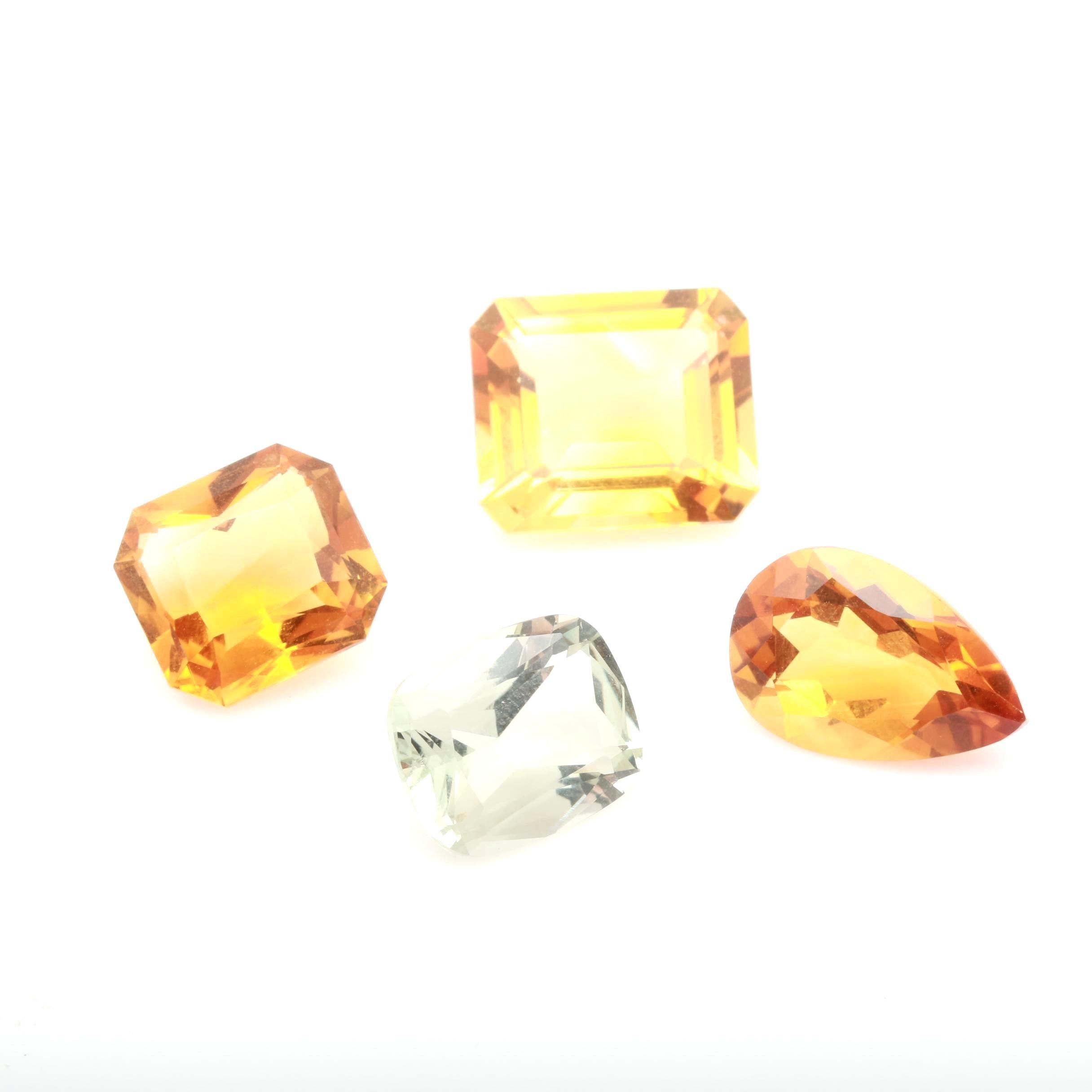 Loose Quartz Gemstones Including Citrine and Praseolite