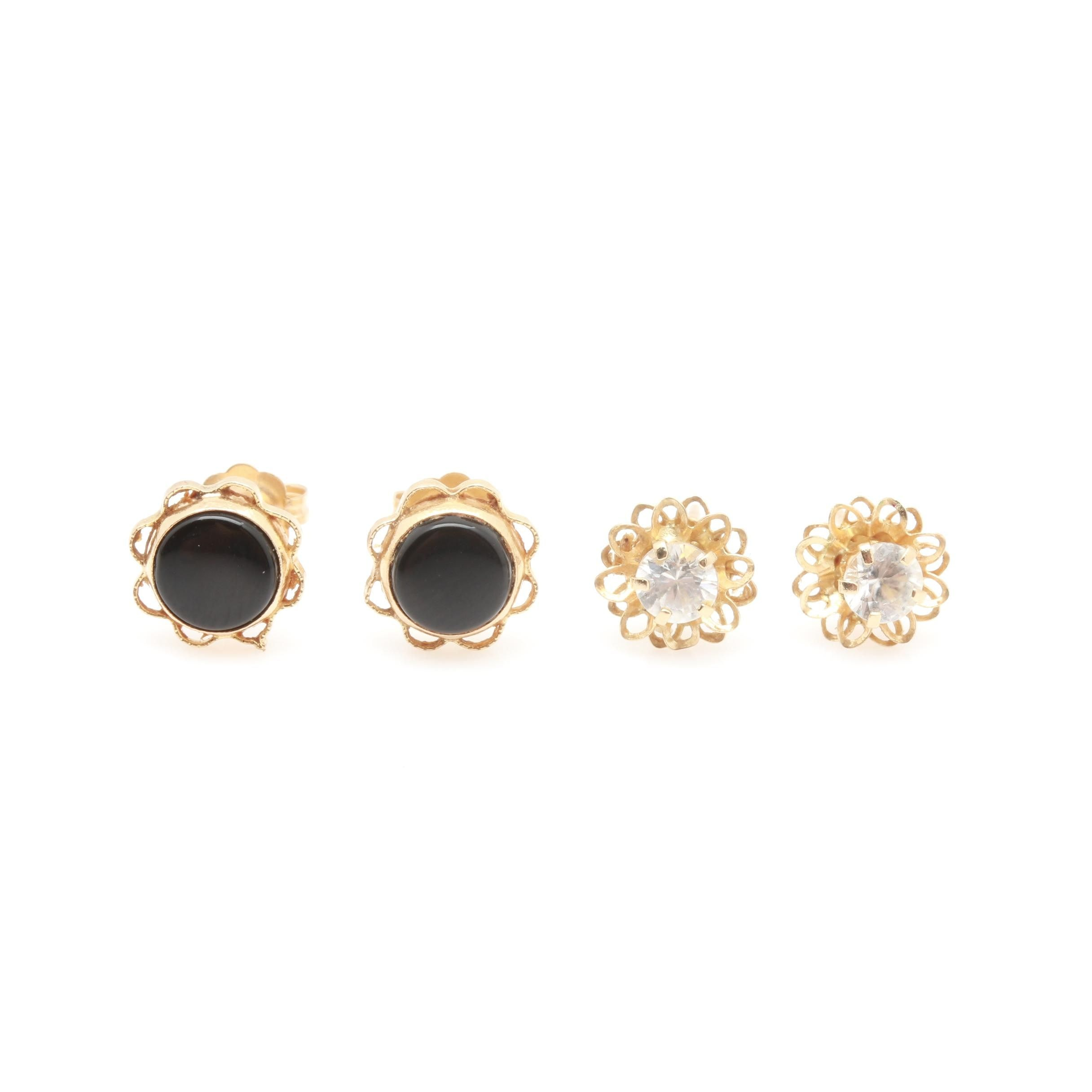10K and 14K Yellow Gold Black Onyx and White Zircon Stud Earrings