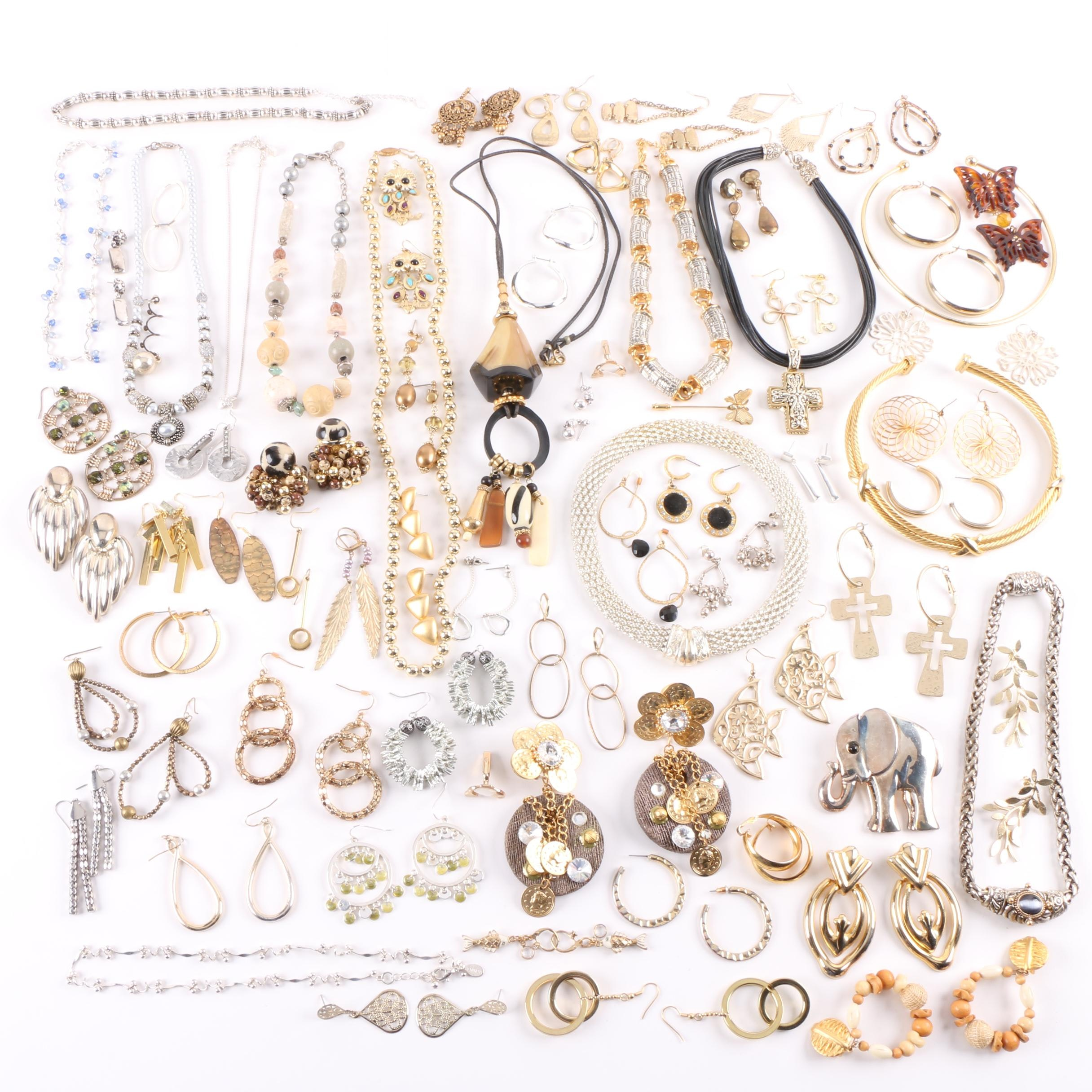 Gold Toned Costume Jewelry Selection Including Horn and Imitation Pearl