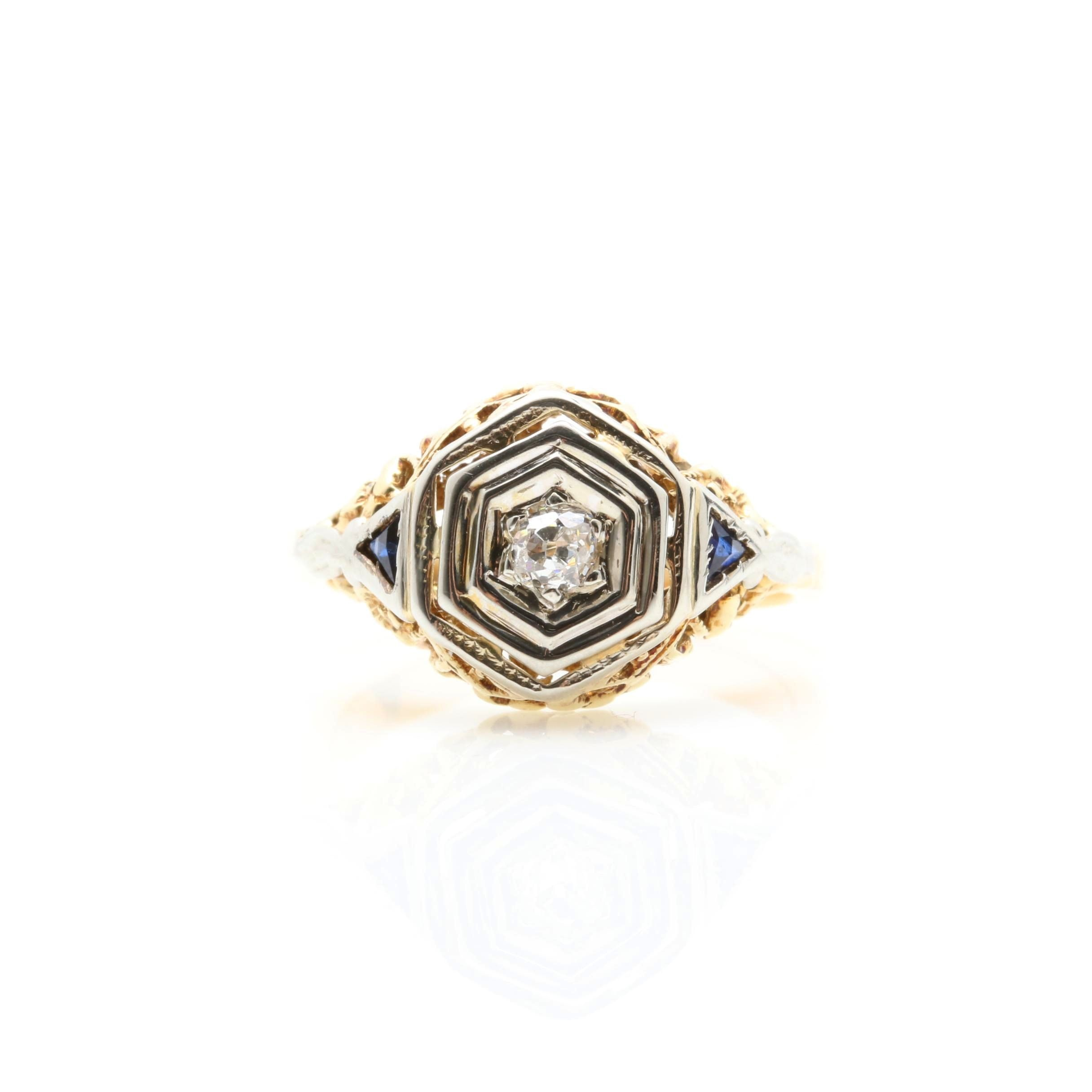 Vintage 18K Two-Tone Gold Diamond and Synthetic Blue Sapphire Ring