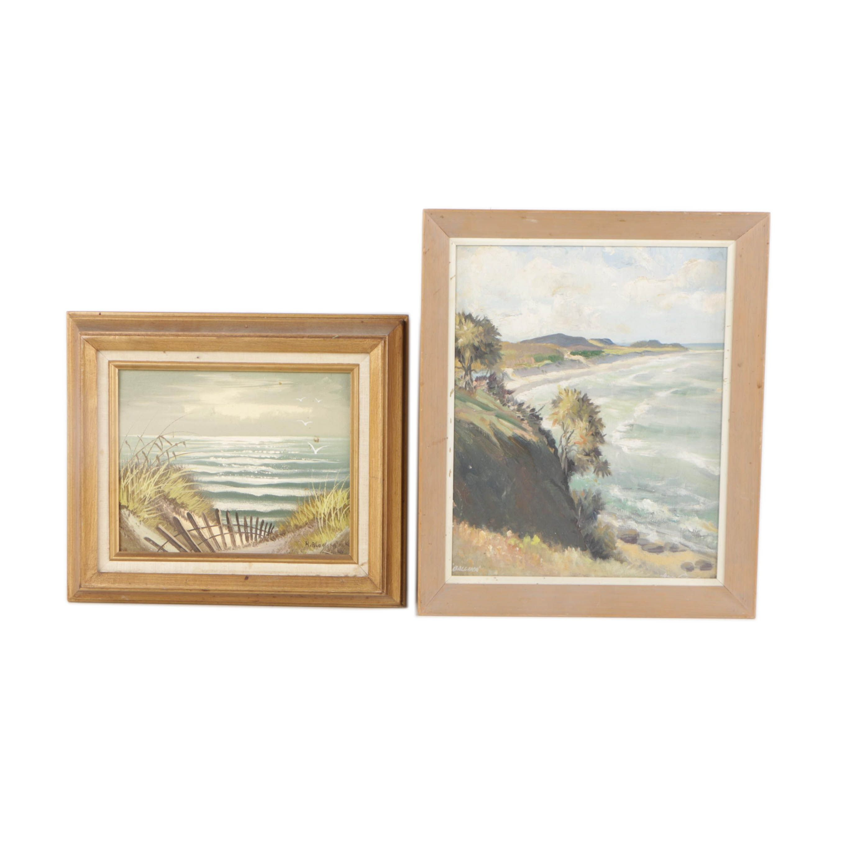 H. Blossom and Ballina Mid-20th Century Oil Paintings