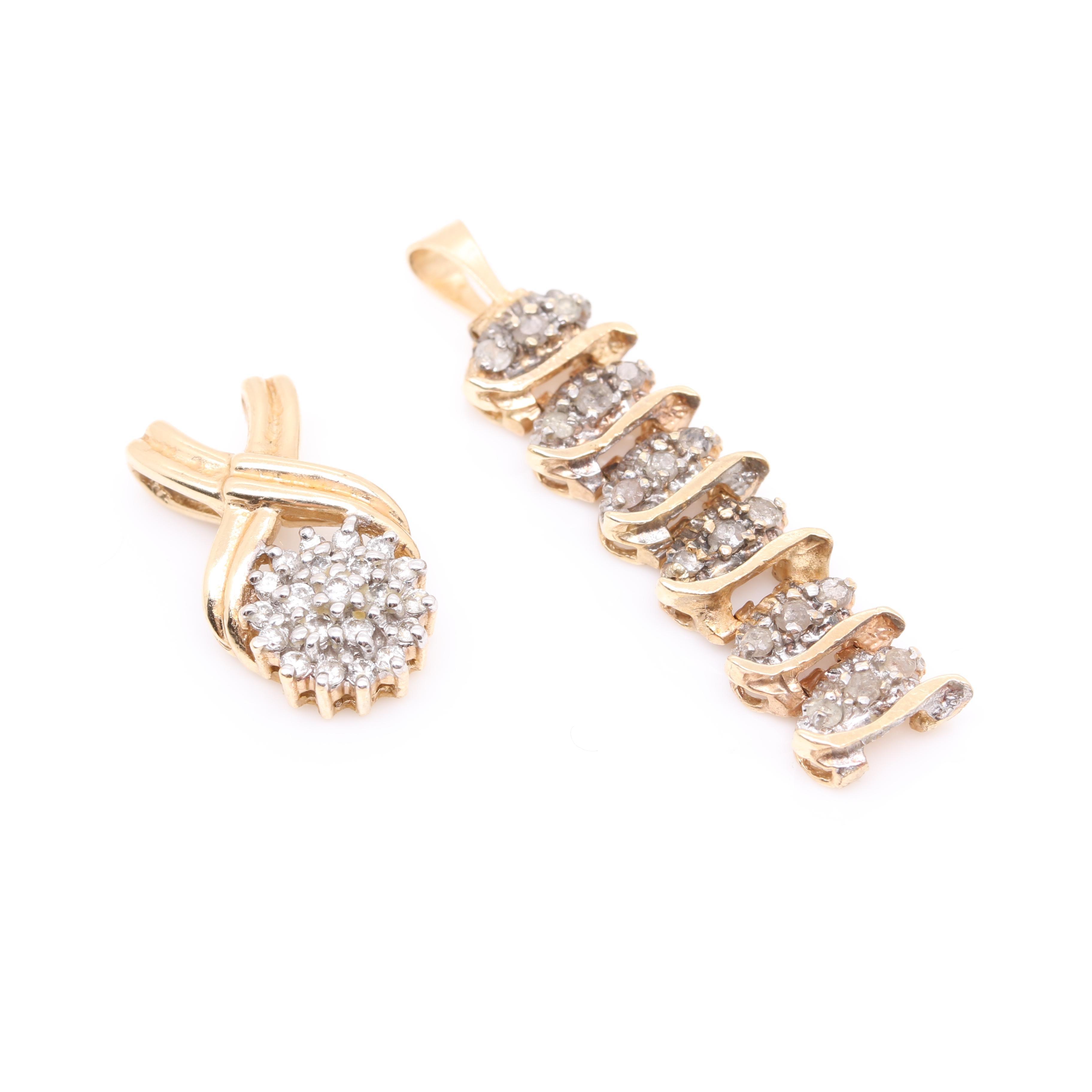 10K and 14K Yellow Gold Diamond Pendants