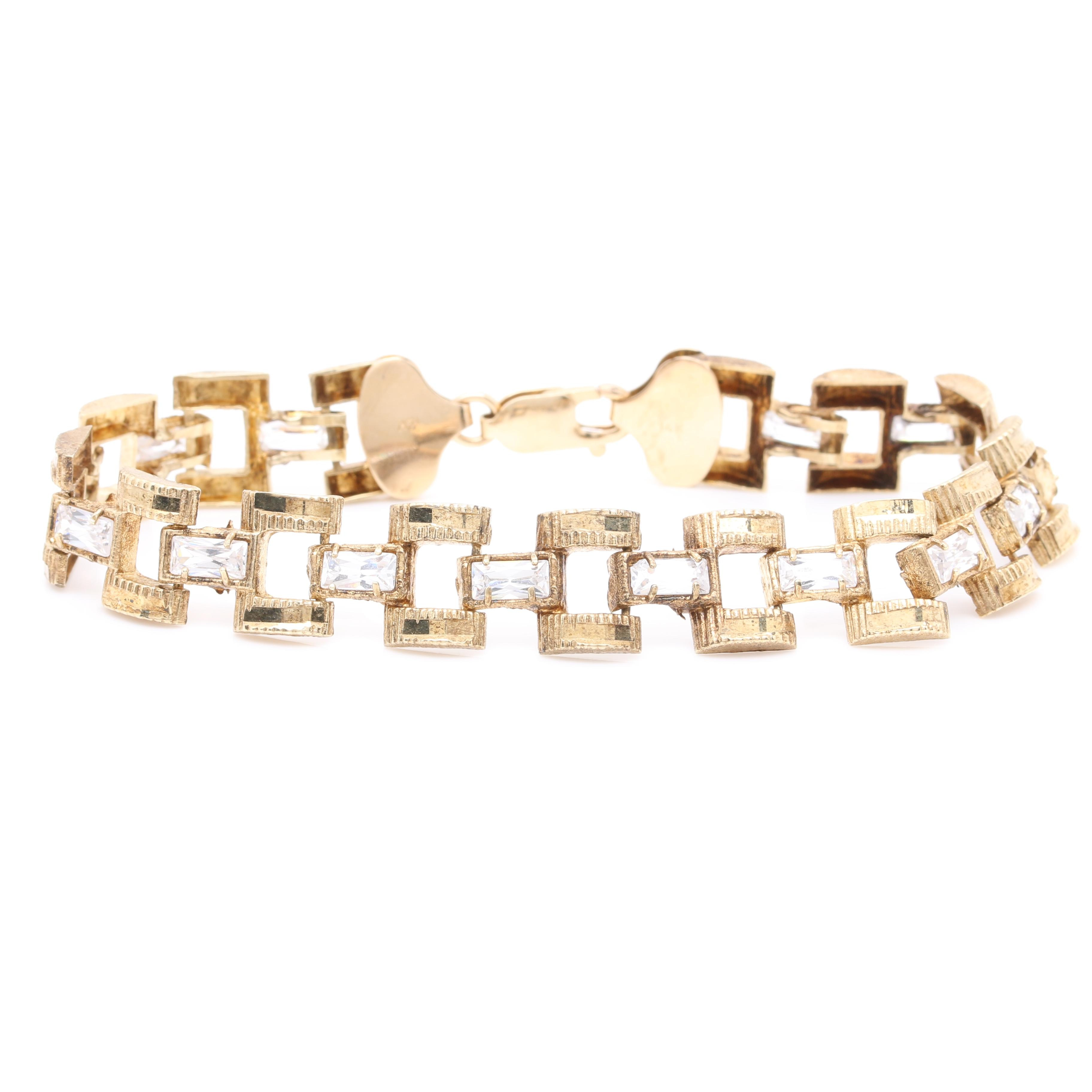 10K and 14K Yellow Gold Cubic Zirconia Bracelet