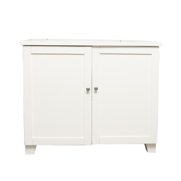 Contemporary White Painted Media Cabinet ...