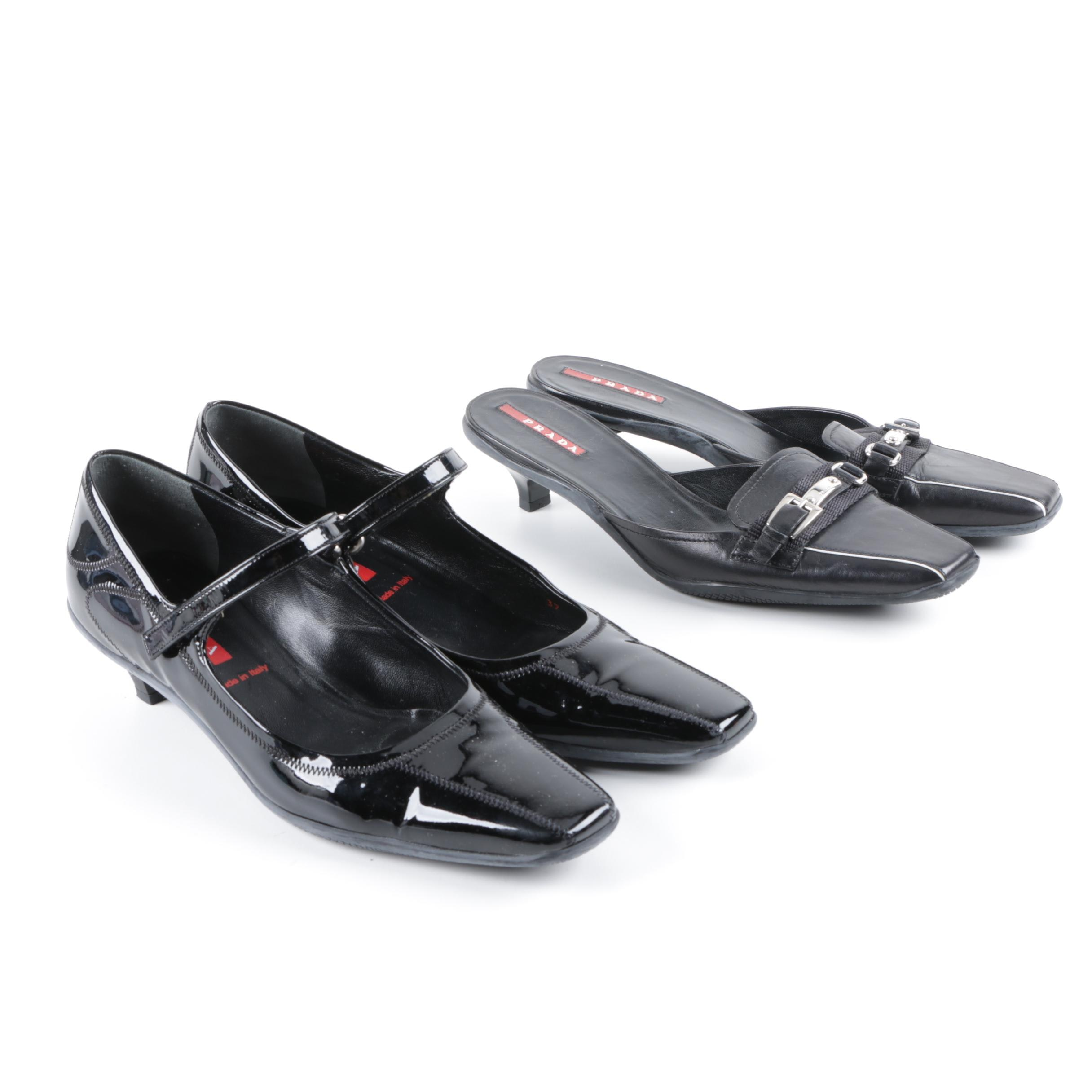 Prada Black Leather Kitten Heel Mules and Mary Janes