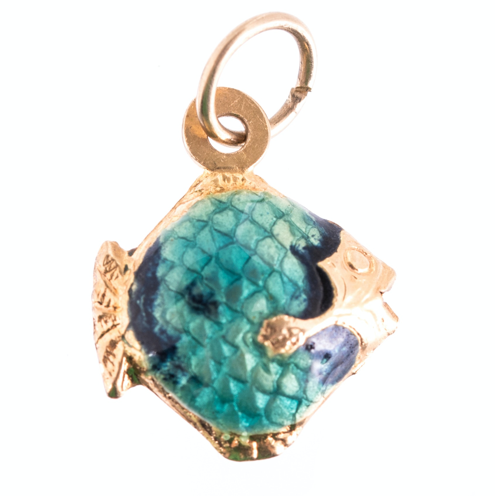 18K Yellow Gold Enameled Fish Charm