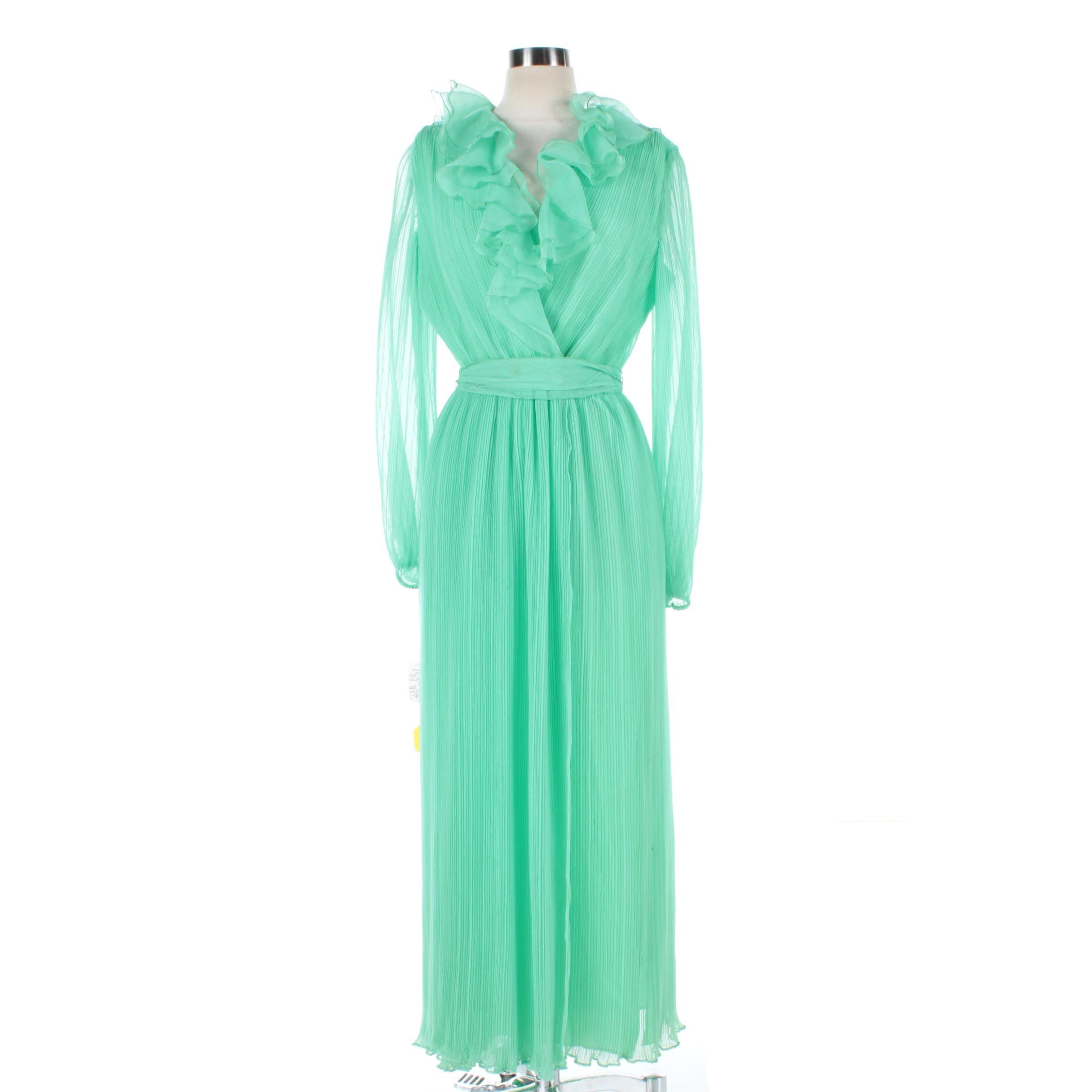 Women's Vintage Jack Bryan Micro Pleated Maxi Dress