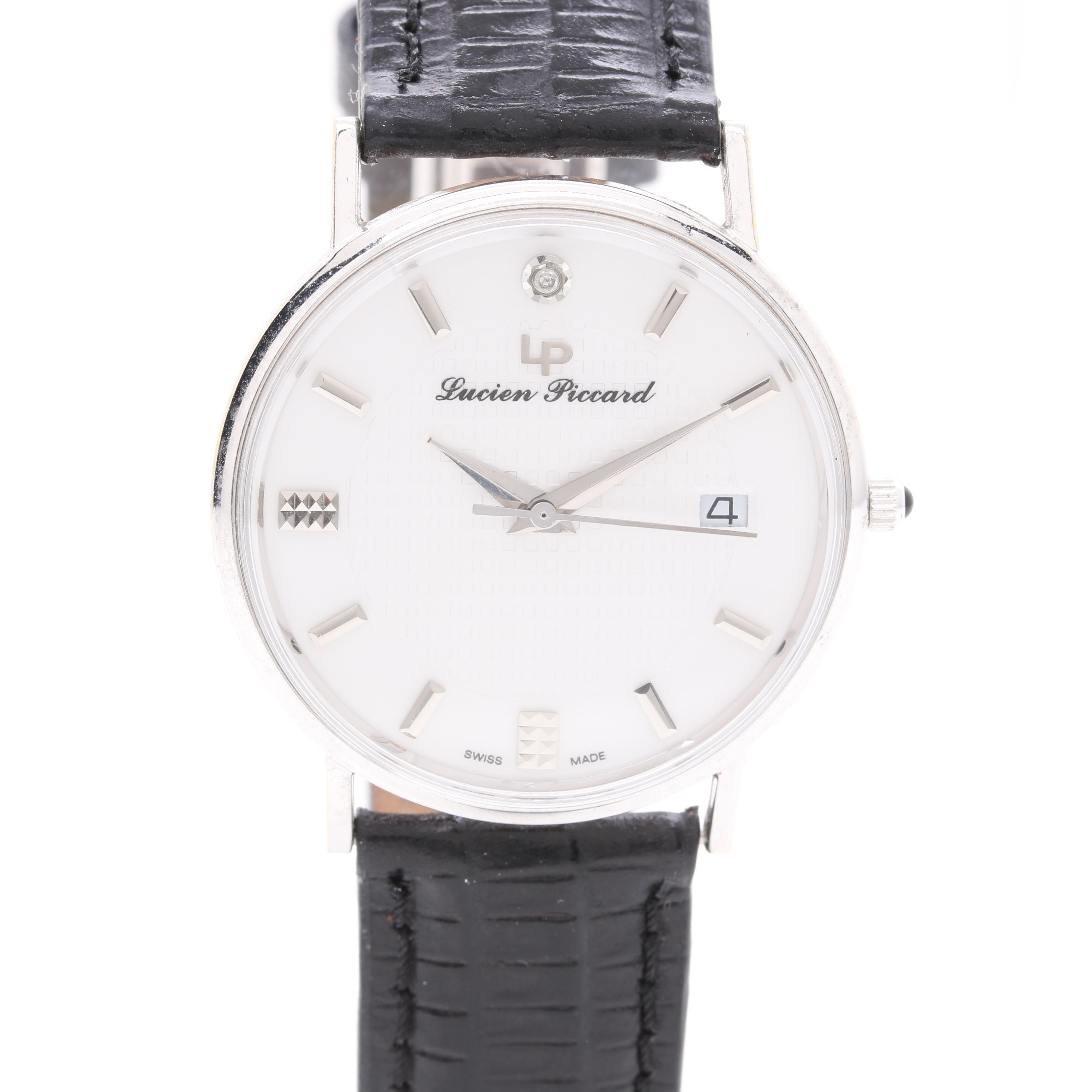 Lucien Piccard 18K White Gold, Leather, and Diamond Wristwatch