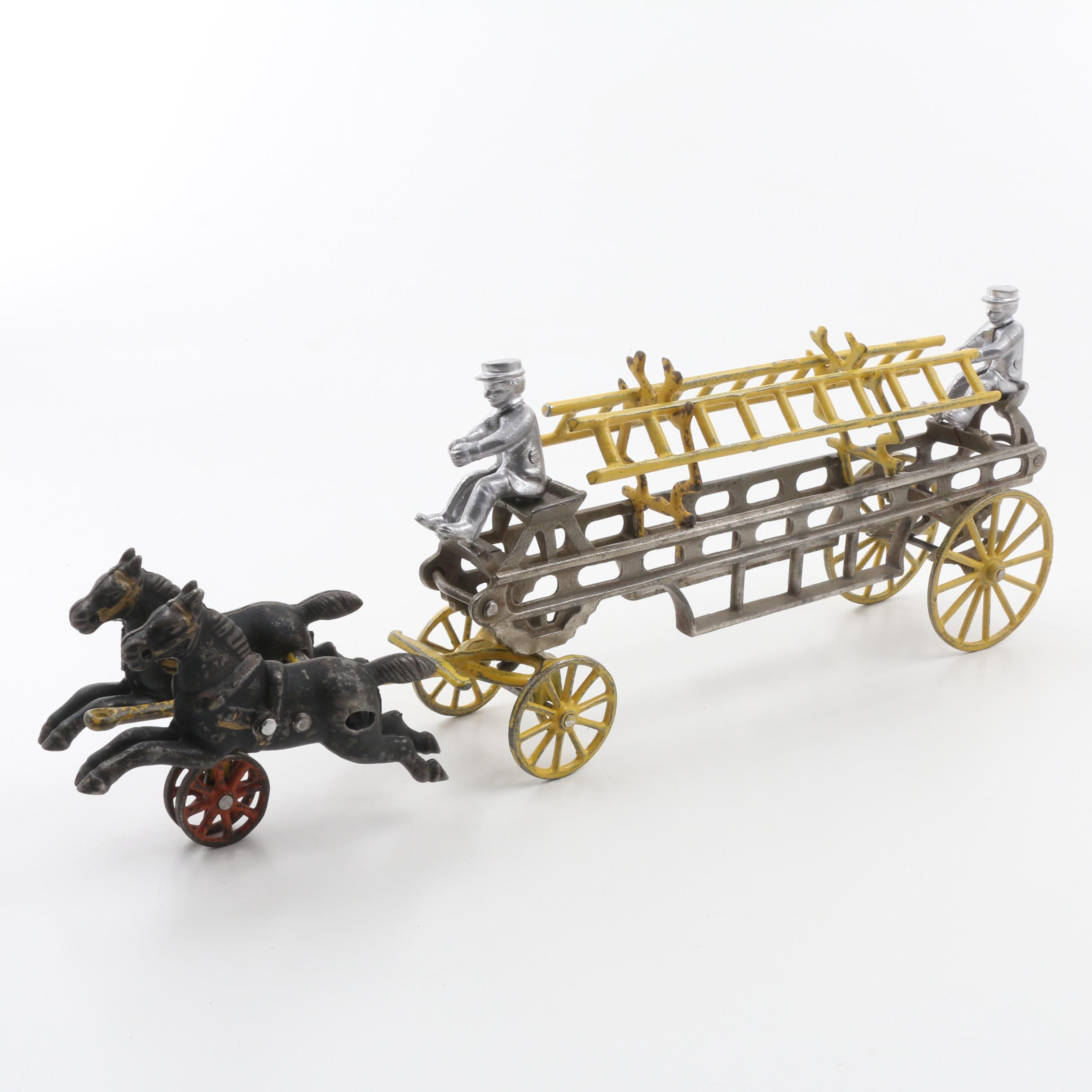 Antique Cast Iron Toy Horse Drawn Ladder Wagon