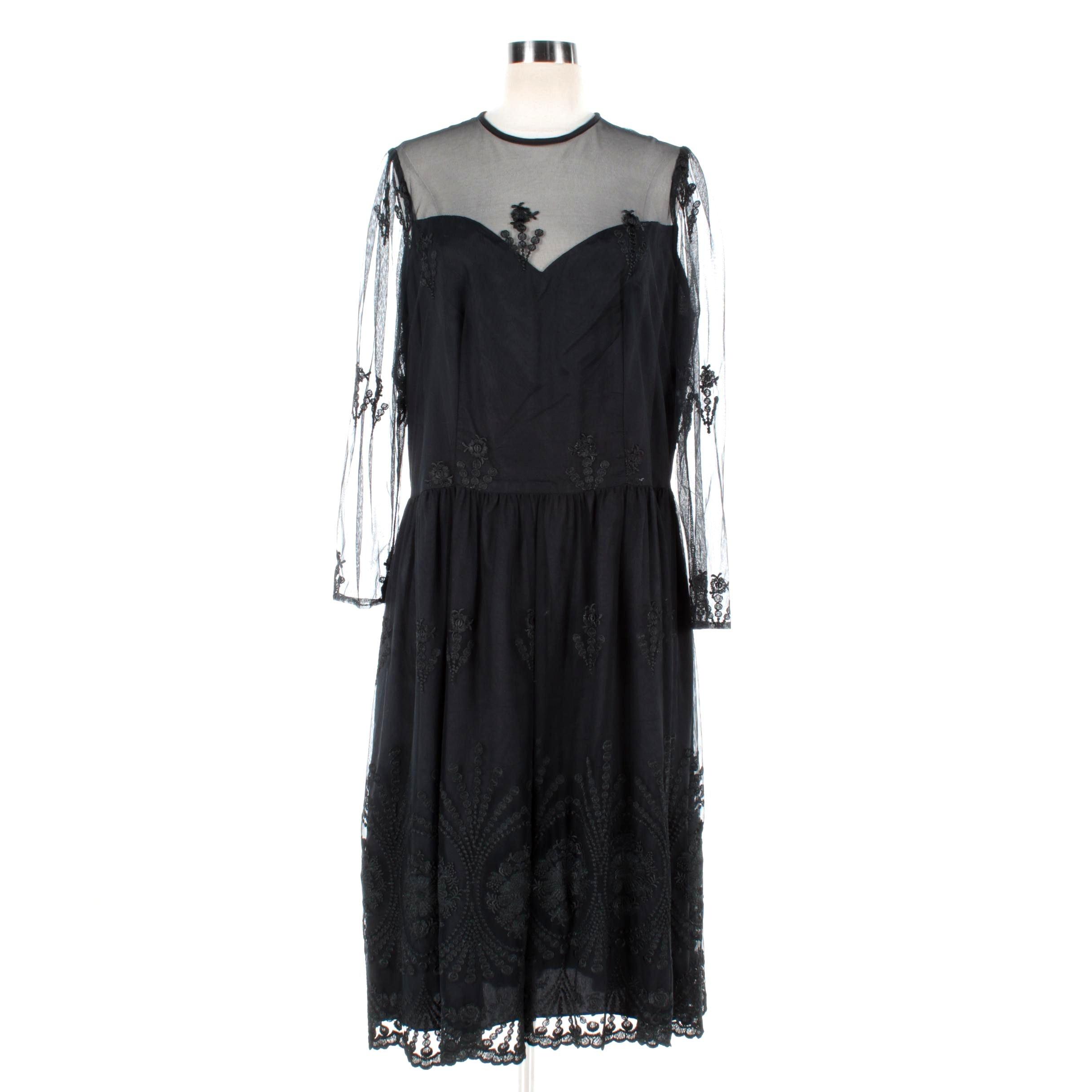 Women's Vintage Black Floral Lace Overlay Dress