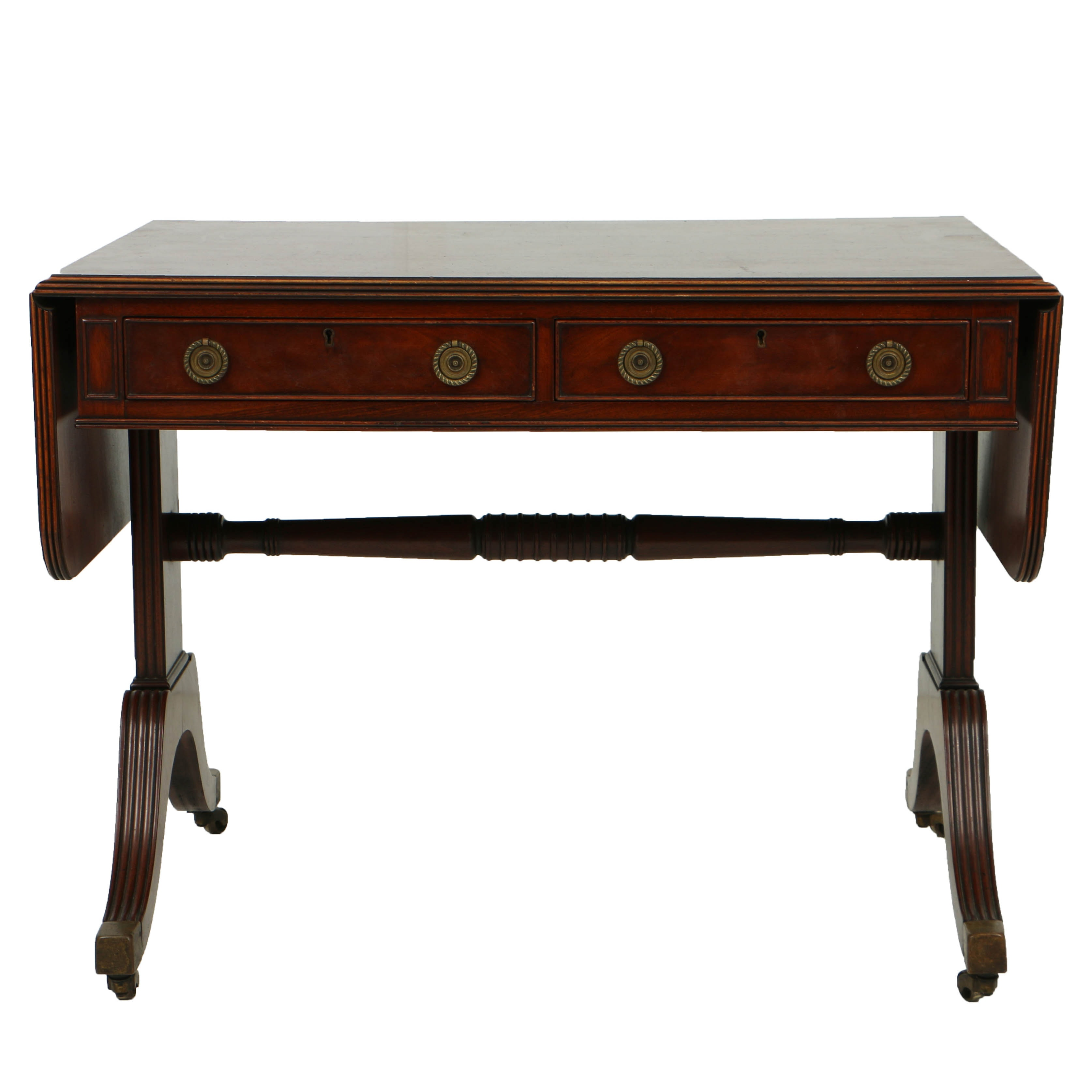 Vintage Regency Style Drop-Leaf Sofa Table in Mahogany