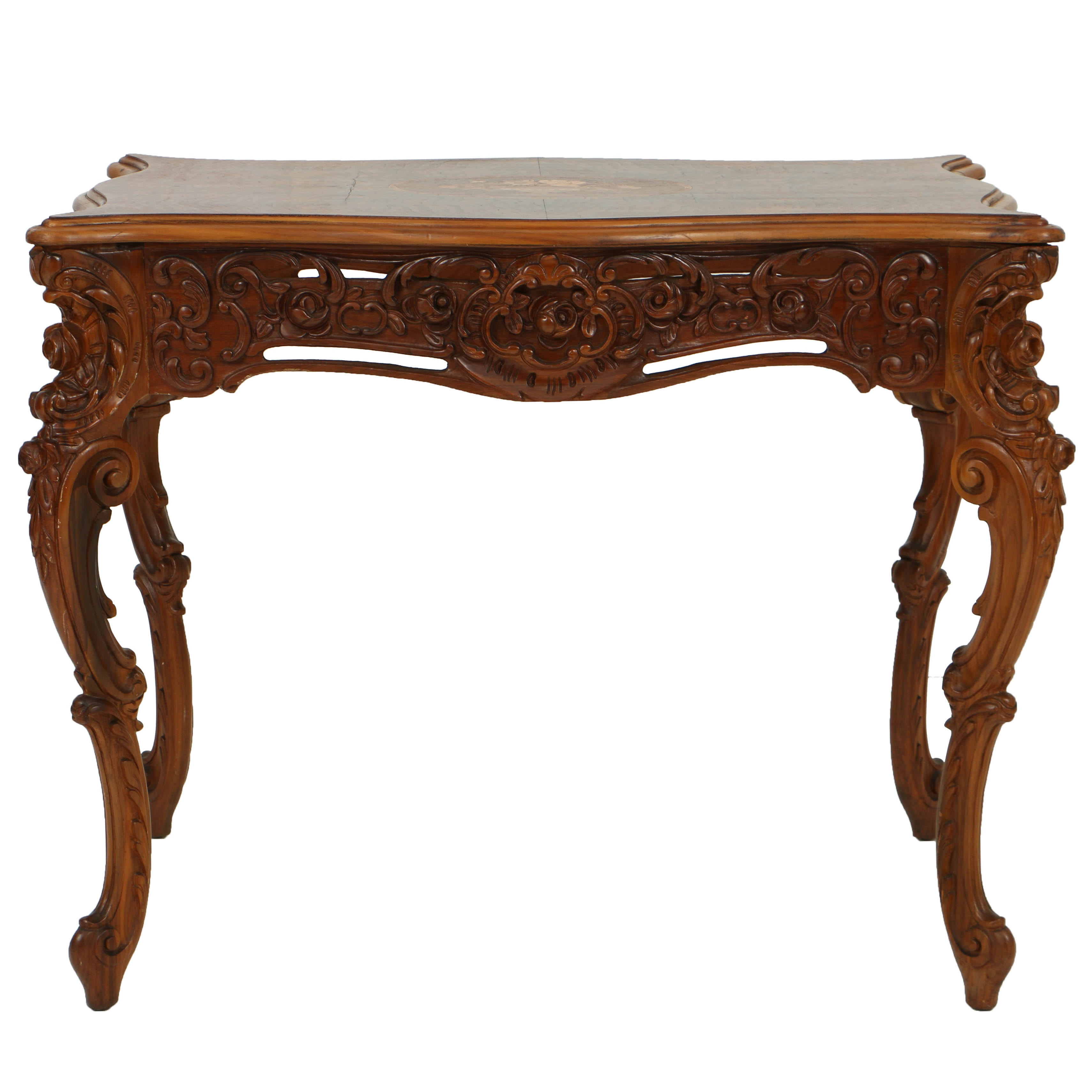 Vintage Rococo Revival Style Marquetry Center Table