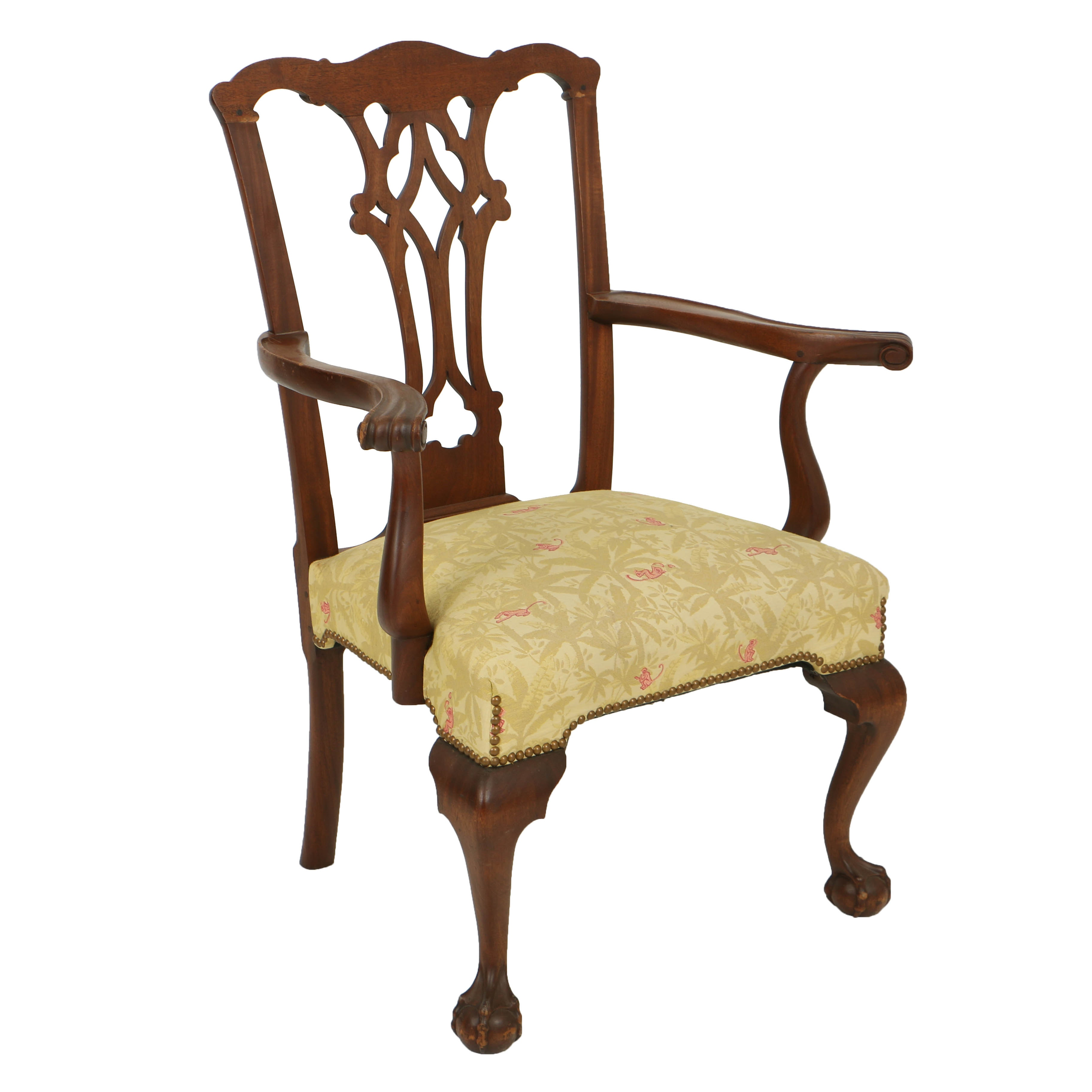 Vintage Chippendale Style Bench-Made Mahogany Armchair, First Half 20th Century