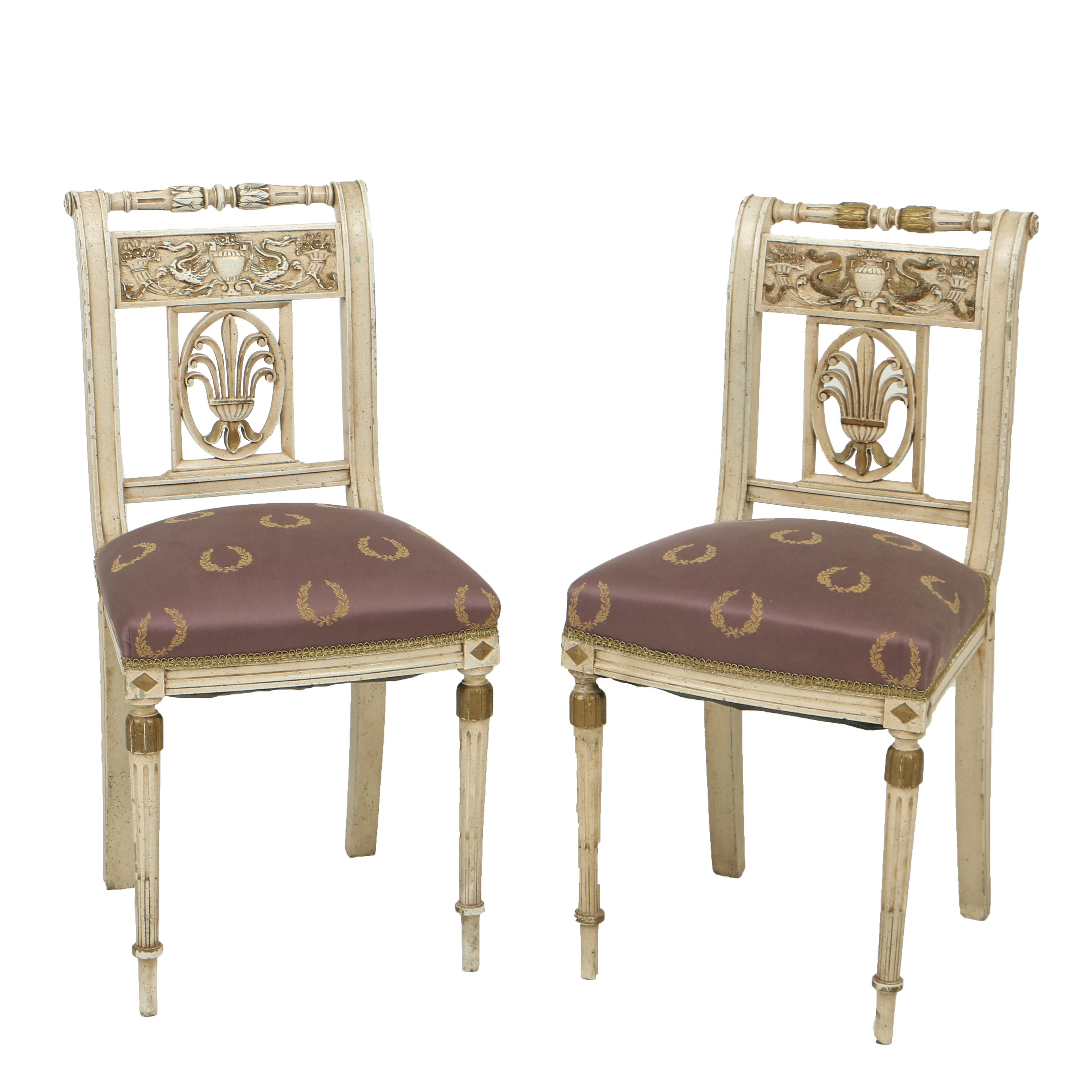 Antique Neoclassical Style Cream-Painted and Parcel-Gilt Side Chairs