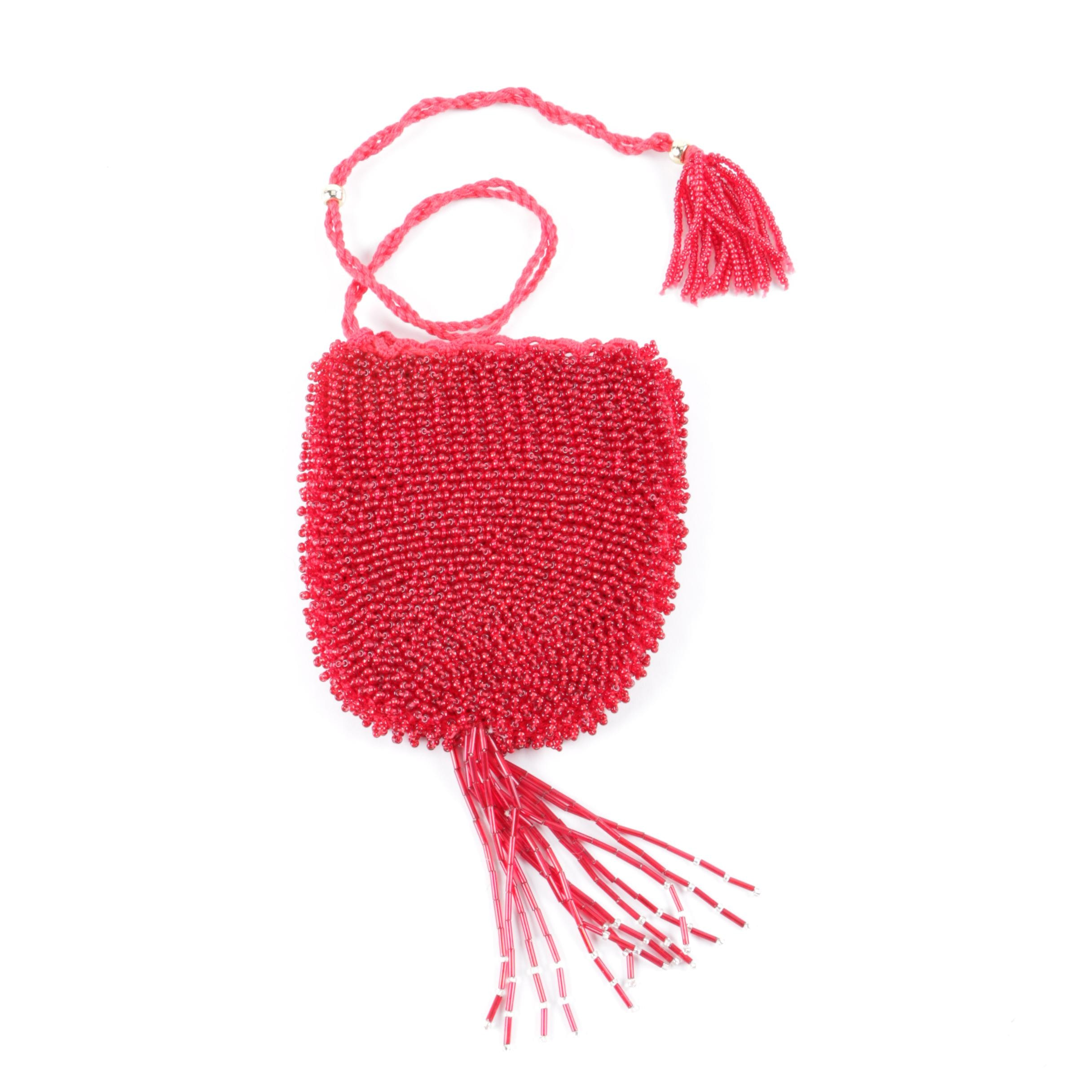 Red Hand-Beaded Crochet Drawstring Bag