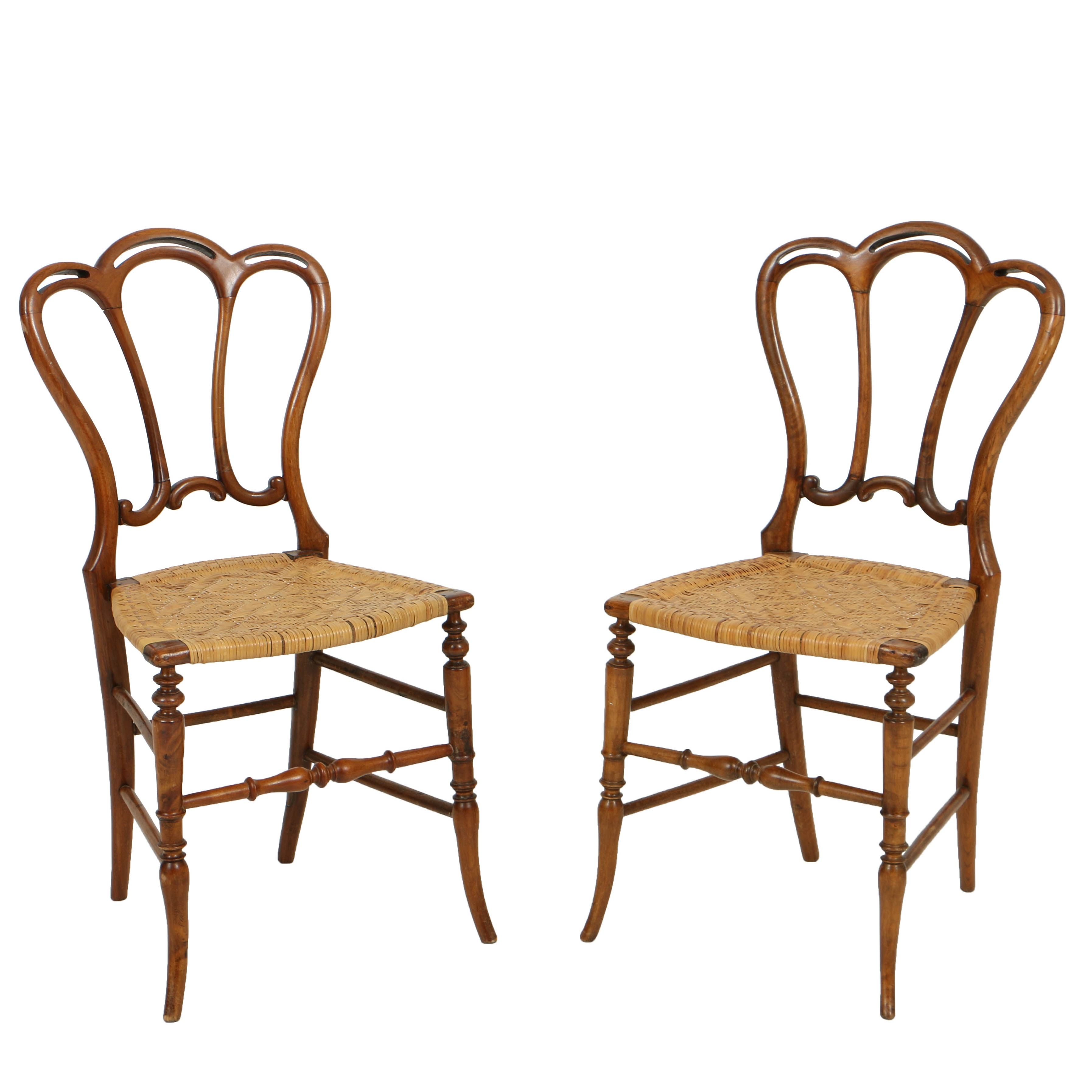 Antique Victorian Provincial Style Birch Side Chairs, Mid 19th Century