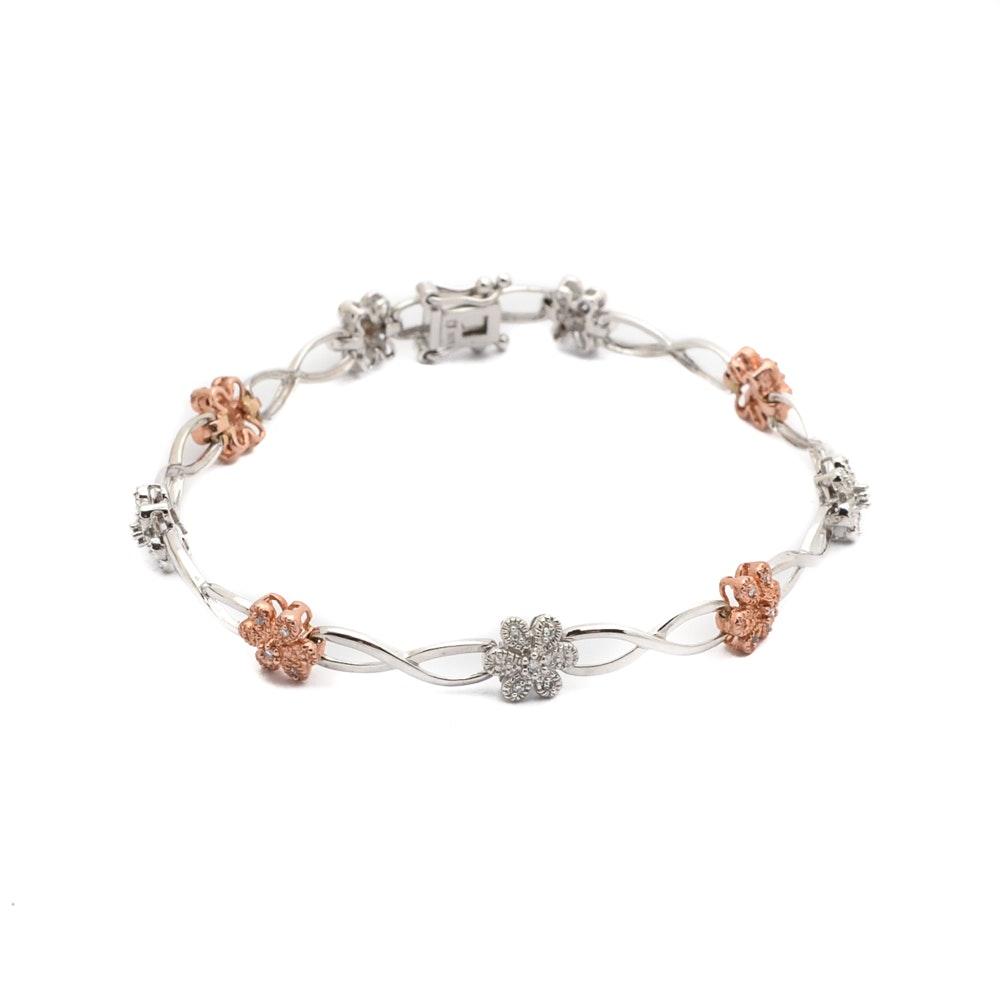 10K White and Rose Gold Diamond Bracelet