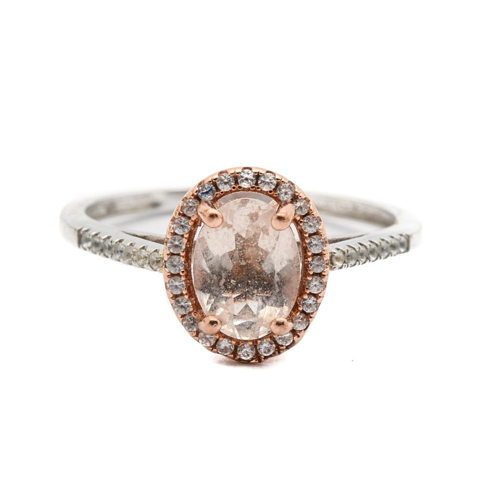 10K White Morganite and White Sapphire Ring