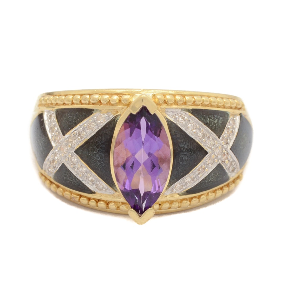 14K Yellow Gold Amethyst and Diamond Ring with Enamel Accents