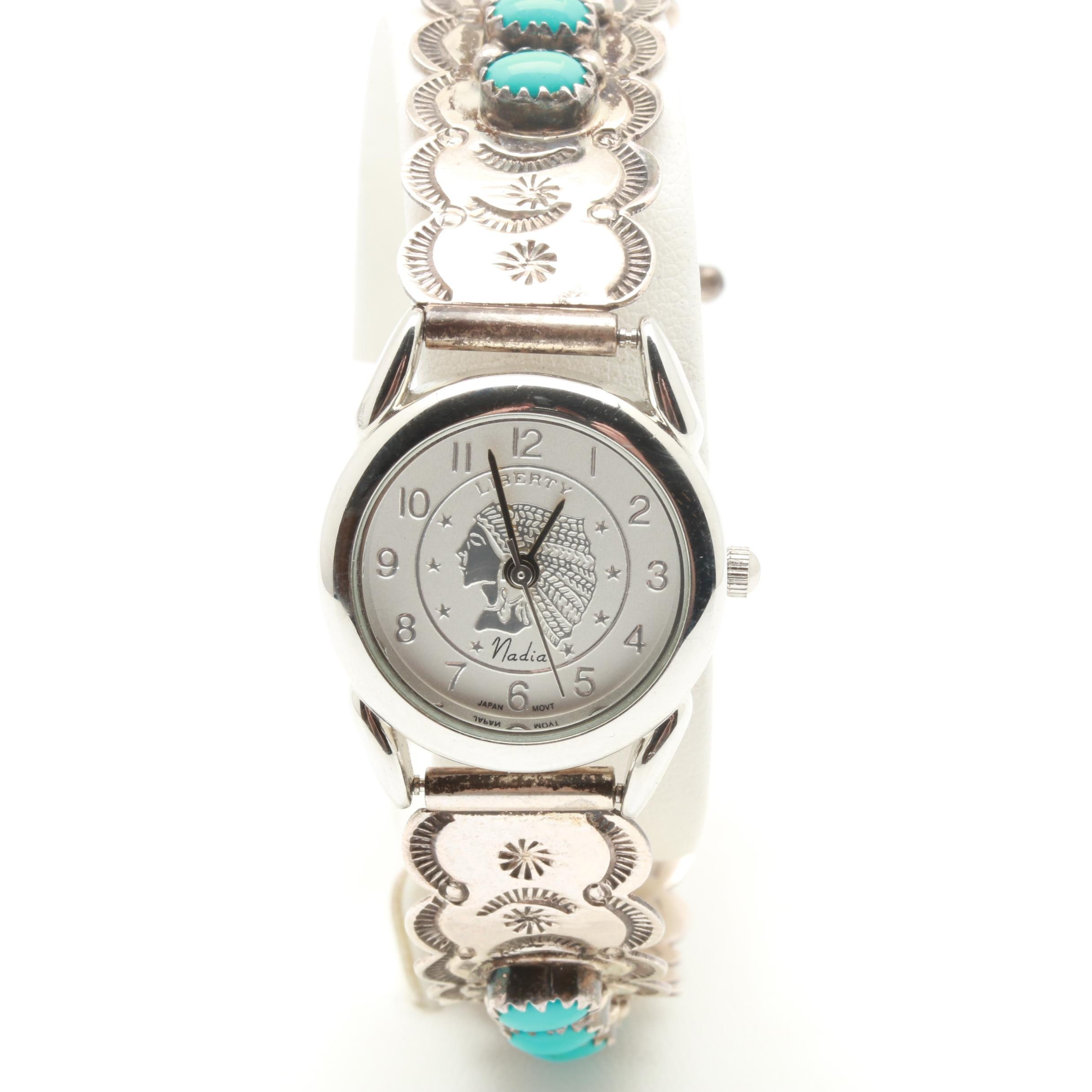 Signed Navajo Artist Larry Moses Yazzie Sterling Silver and Turquoise Wristwatch