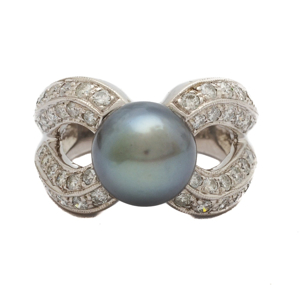 14K White Gold Cultured Gray Pearl and 0.96 CTW Diamond Ring