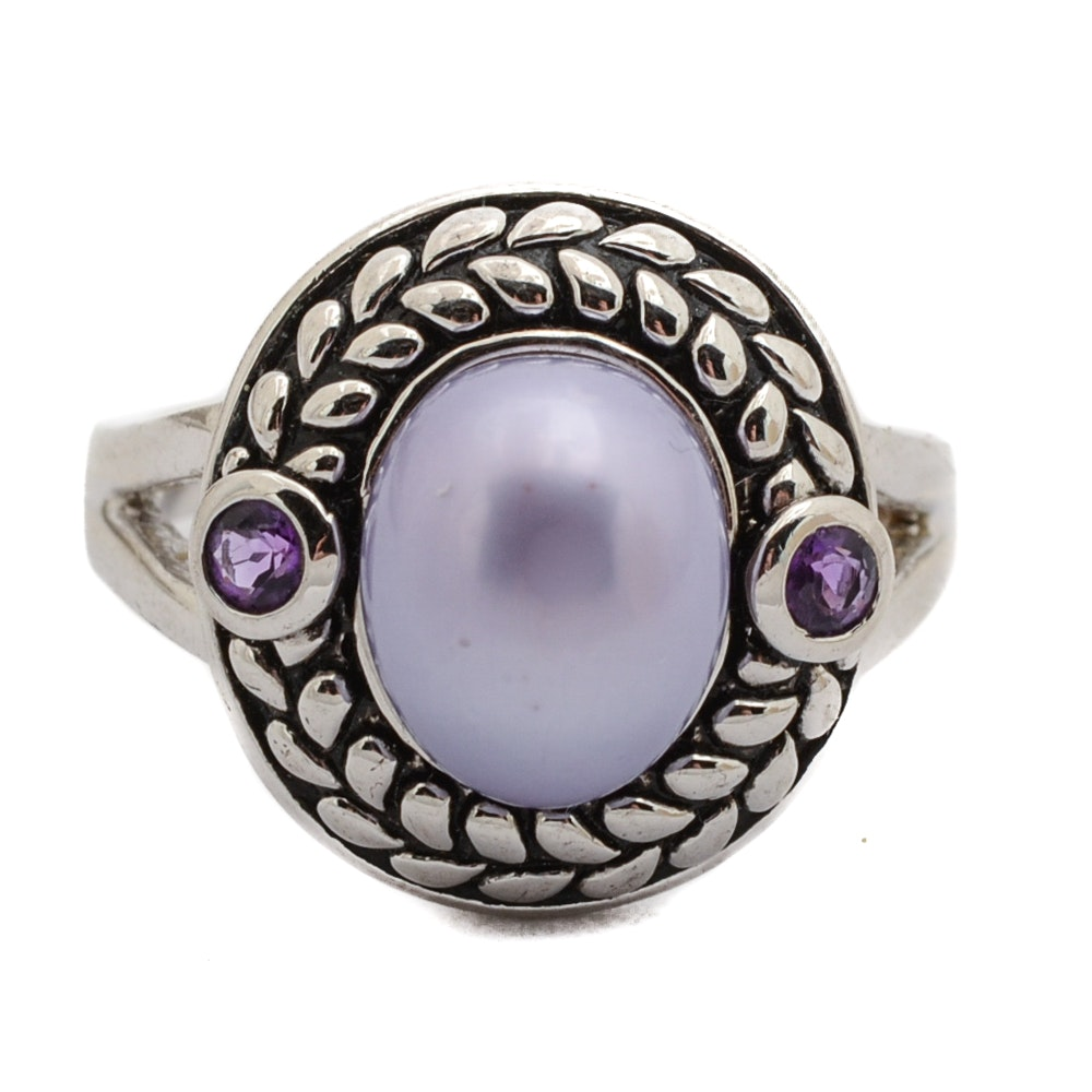 Sterling Silver Dyed Cultured Pearl and Amethyst Ring