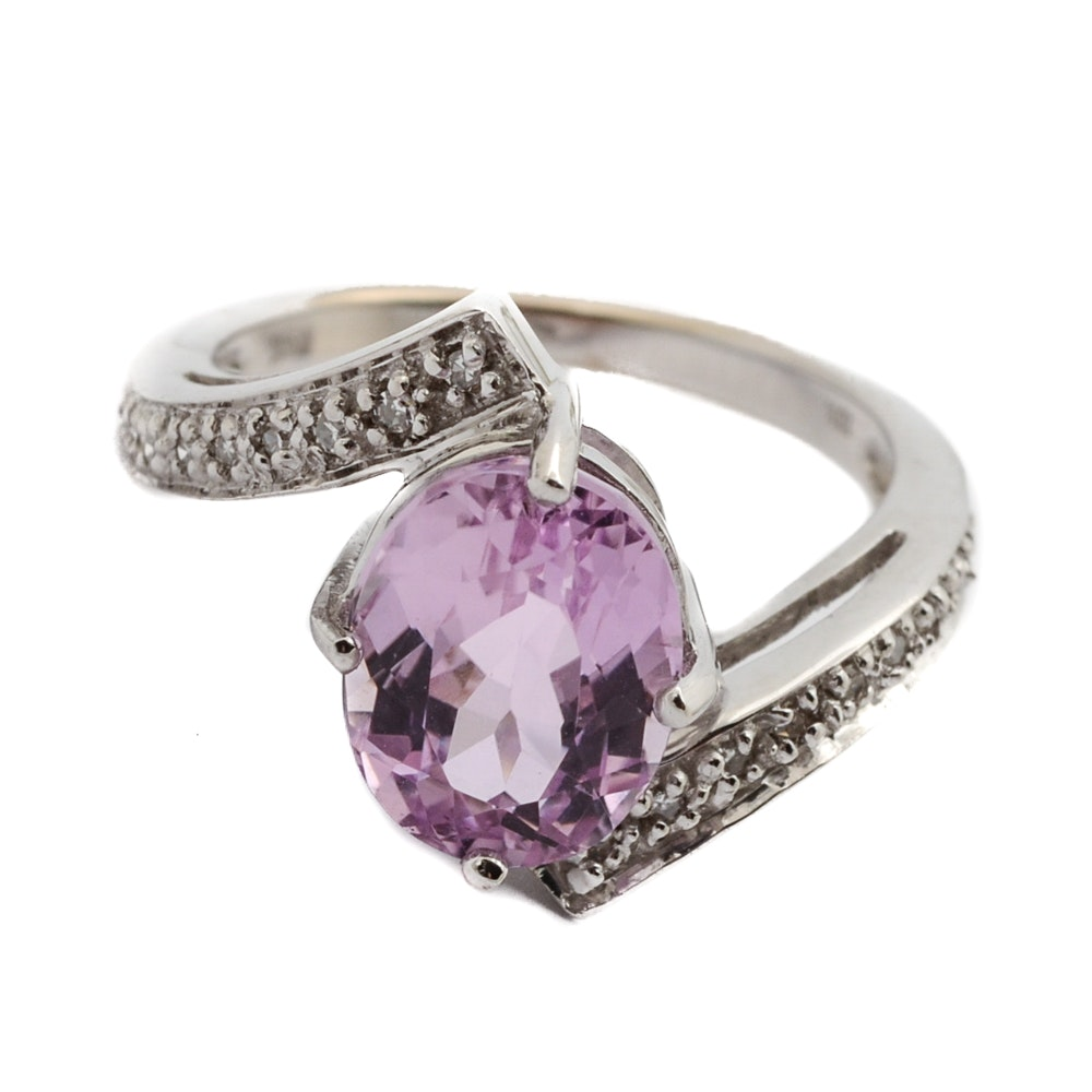 18K White Gold Kunzite and Diamond Ring