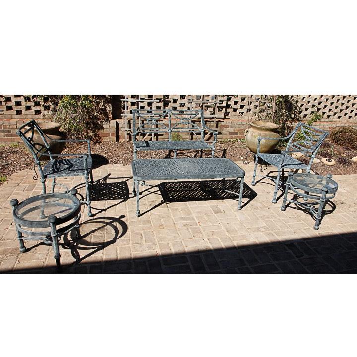 Six-Piece Cast Metal Patio Furniture Set