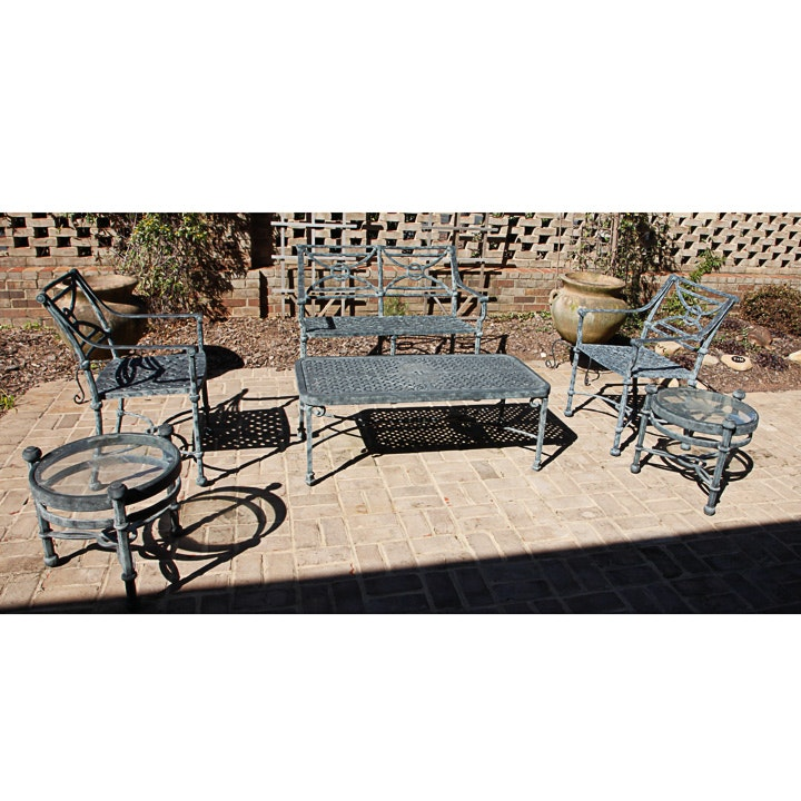 Six-Piece Cast Metal Patio Furniture Set