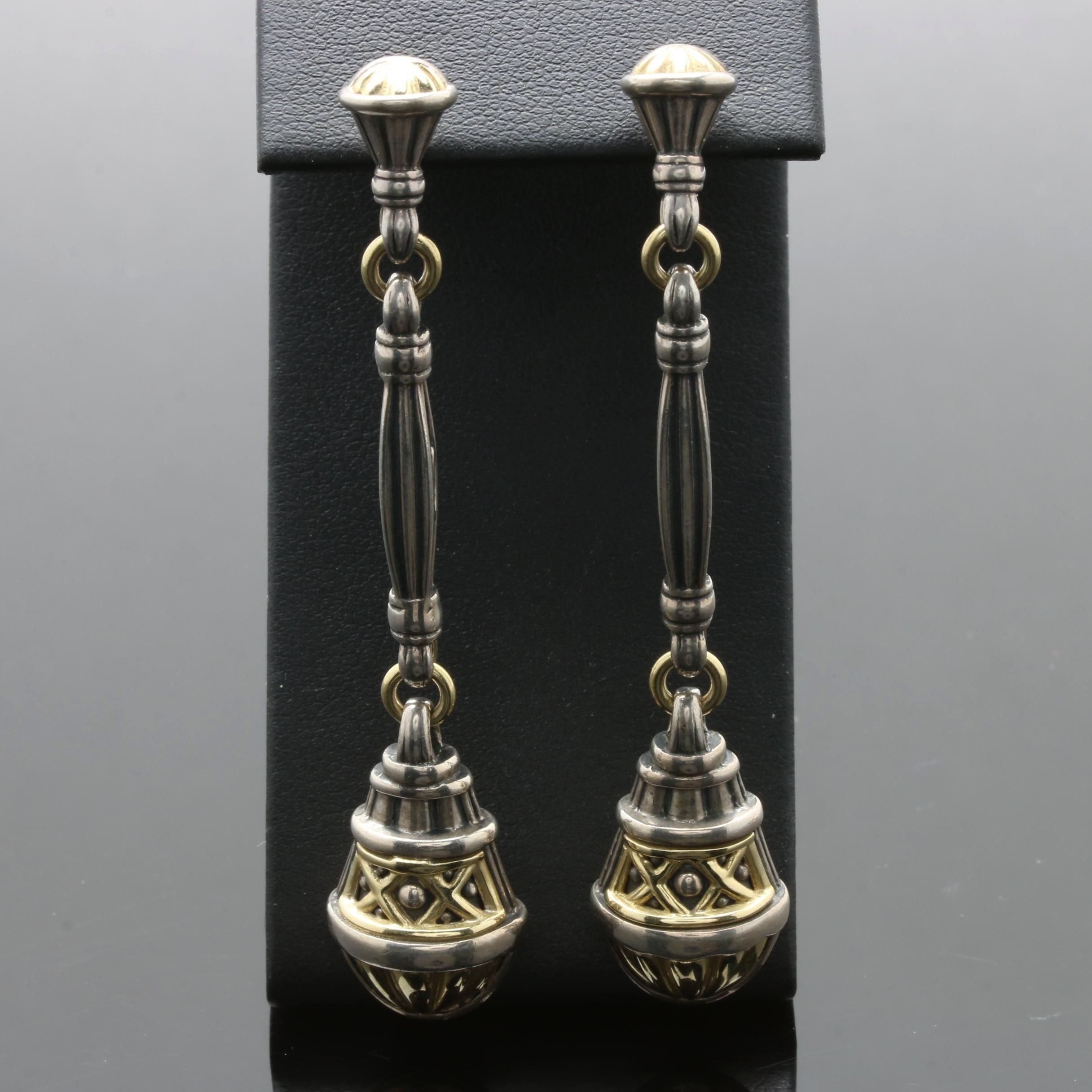 Caviar Lagos Sterling Silver Dangle Earrings with 18K Yellow Gold Accents