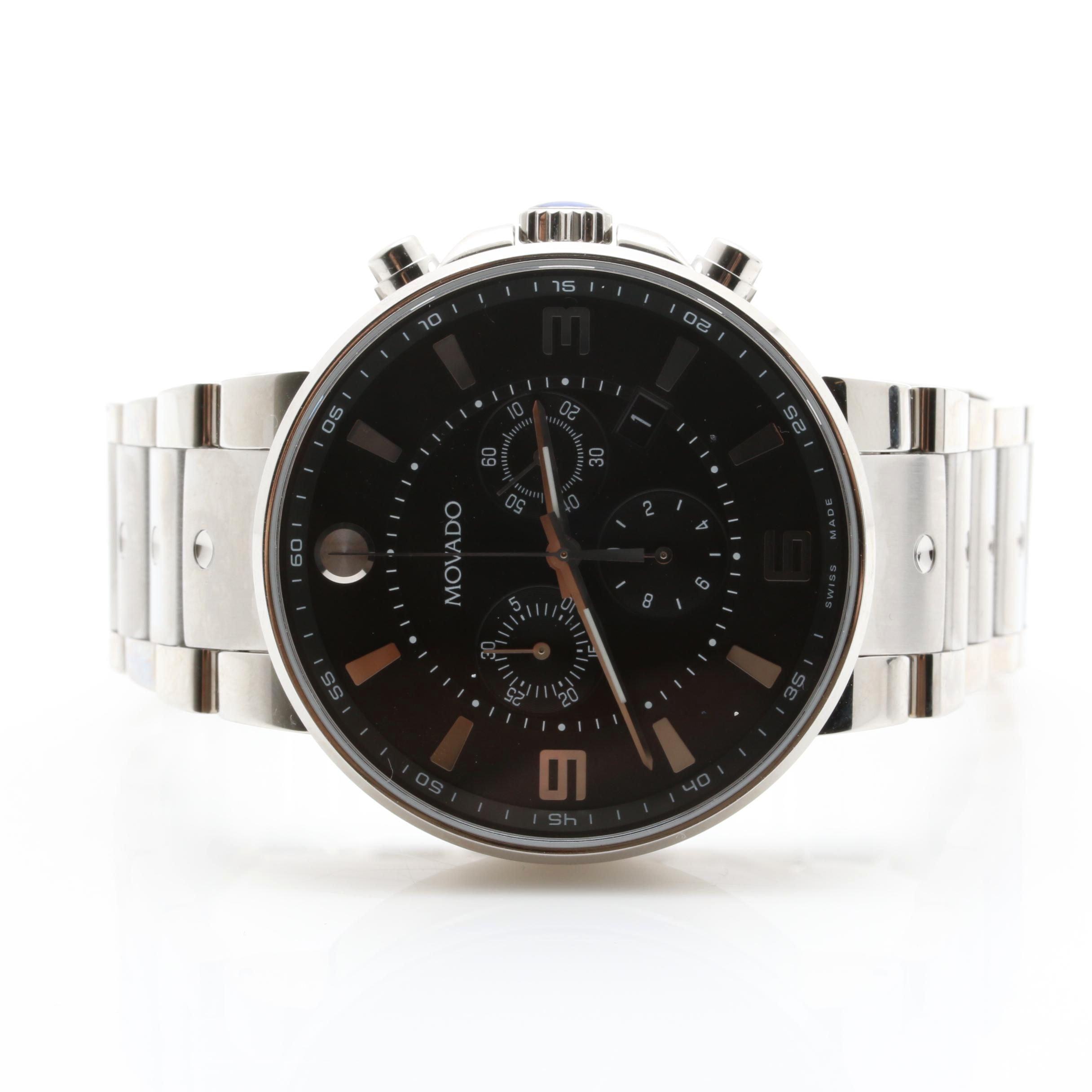 Movado Silver Tone SE PILOT Chronograph Wristwatch