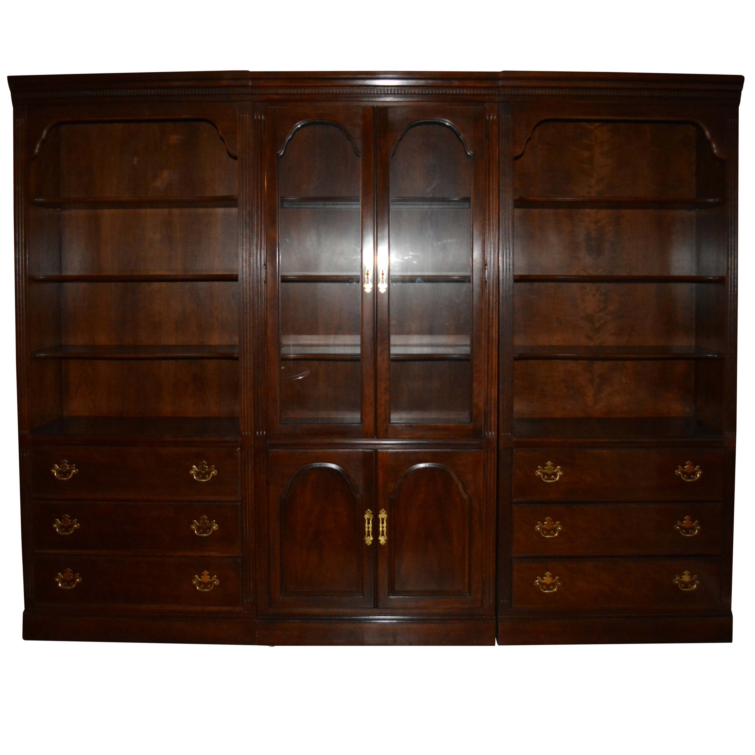 Drexel Three-Piece Display Cabinet With Bookcases